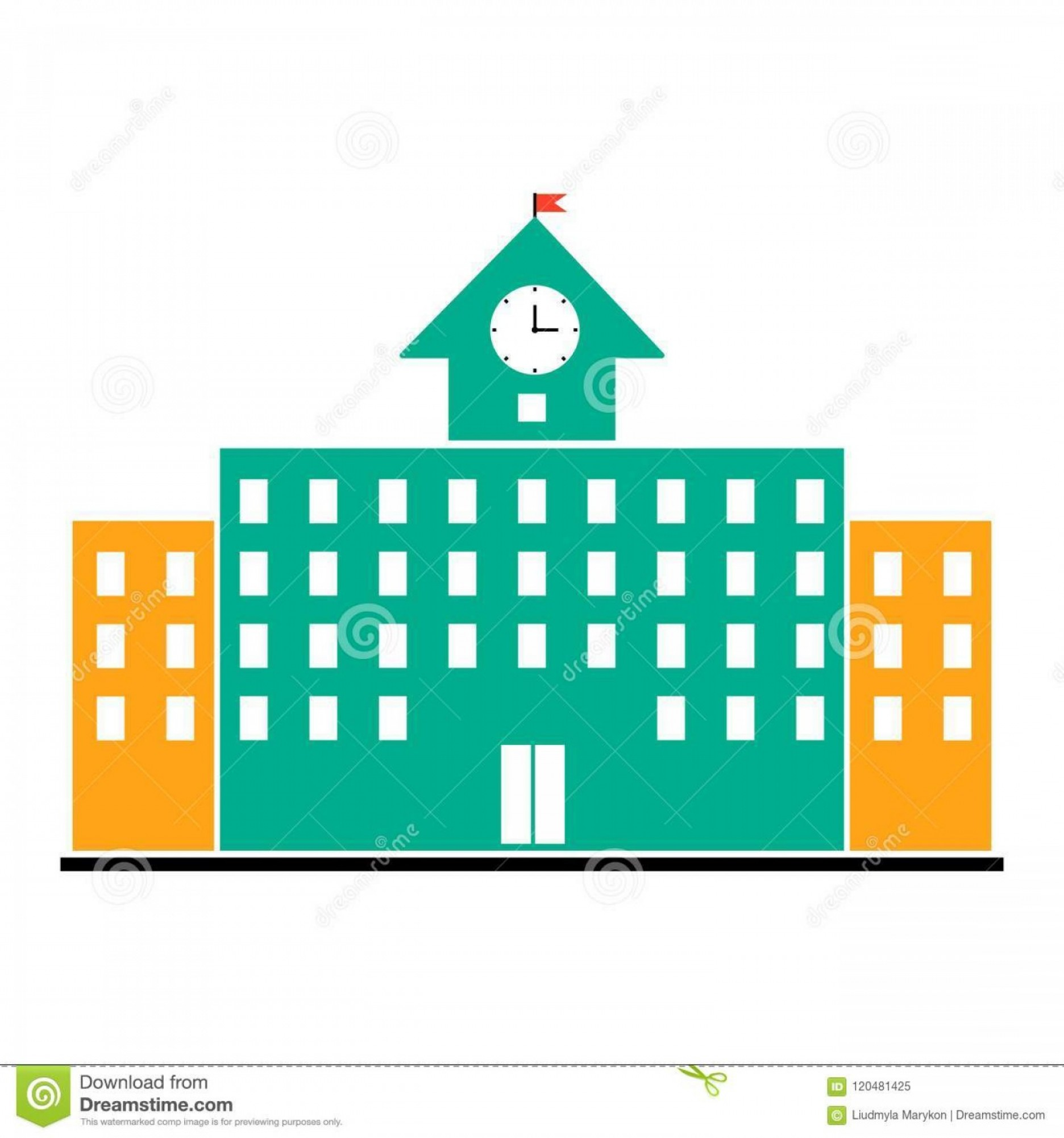 Vector Clip Art Red Schoolhouse: Vector School House College Building Isolated Education Icon Image