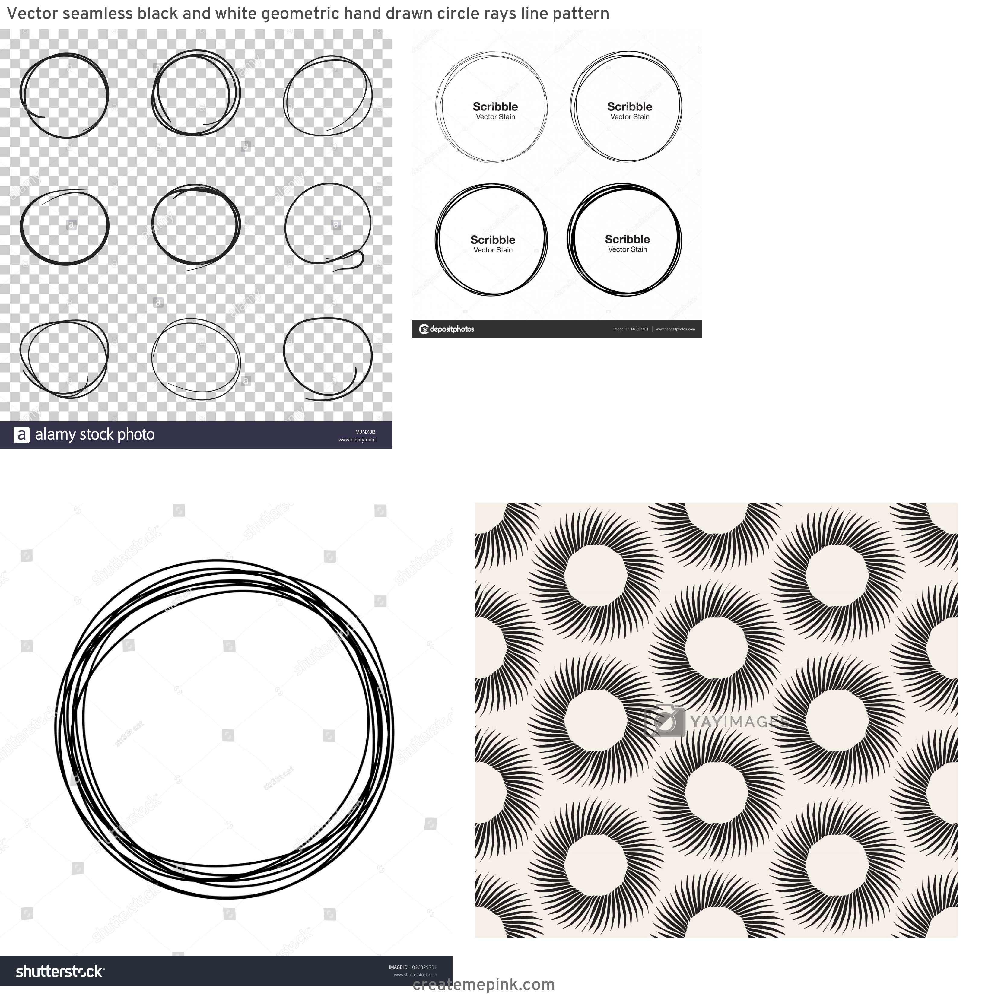 Circle Hand Drawn Vector Line: Vector Seamless Black And White Geometric Hand Drawn Circle Rays Line Pattern
