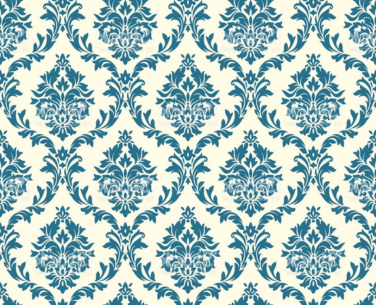 Damask Background Vector Art: Vector Seamless Floral Damask Pattern Gm