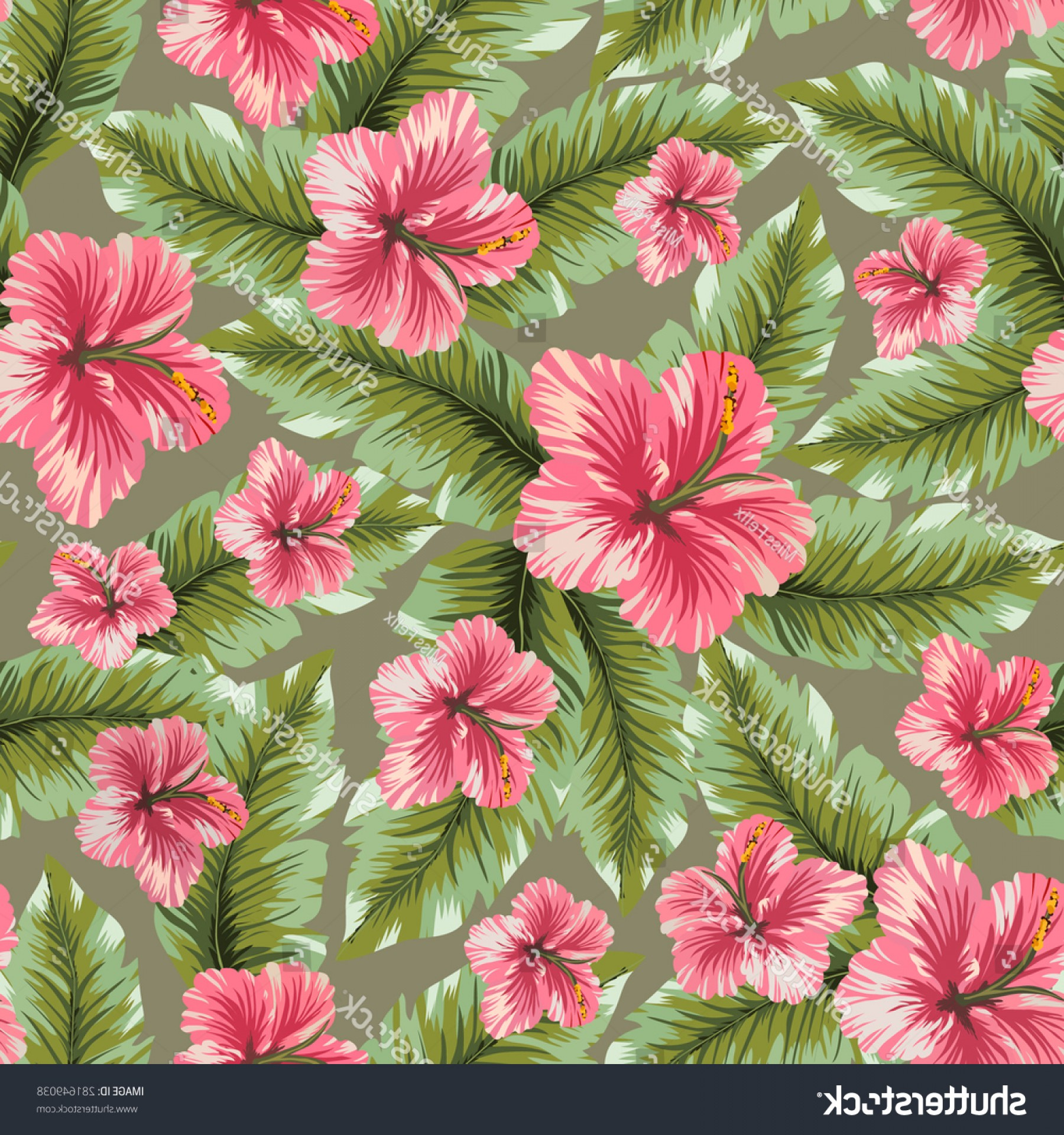 Hawaiian Pattern Vector: Vector Seamless Hawaiian Flower Pattern Background