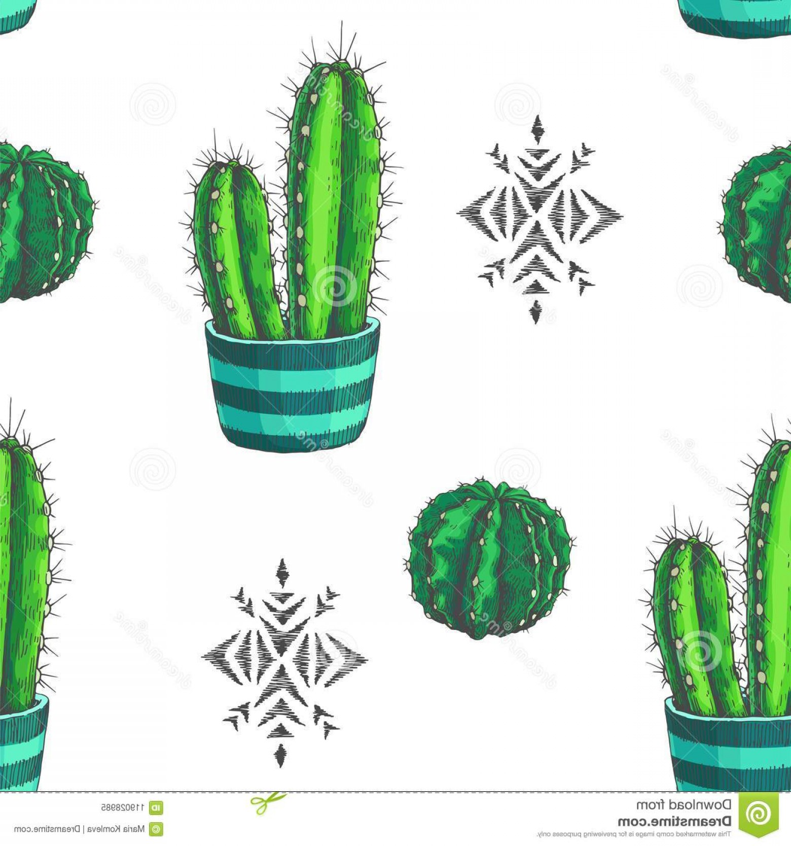 Aztec Cactus Vector: Vector Seamless Pattern Color Houseplants Aztec Ornamen Vector Seamless Pattern Color Houseplants Aztec Ornament Image