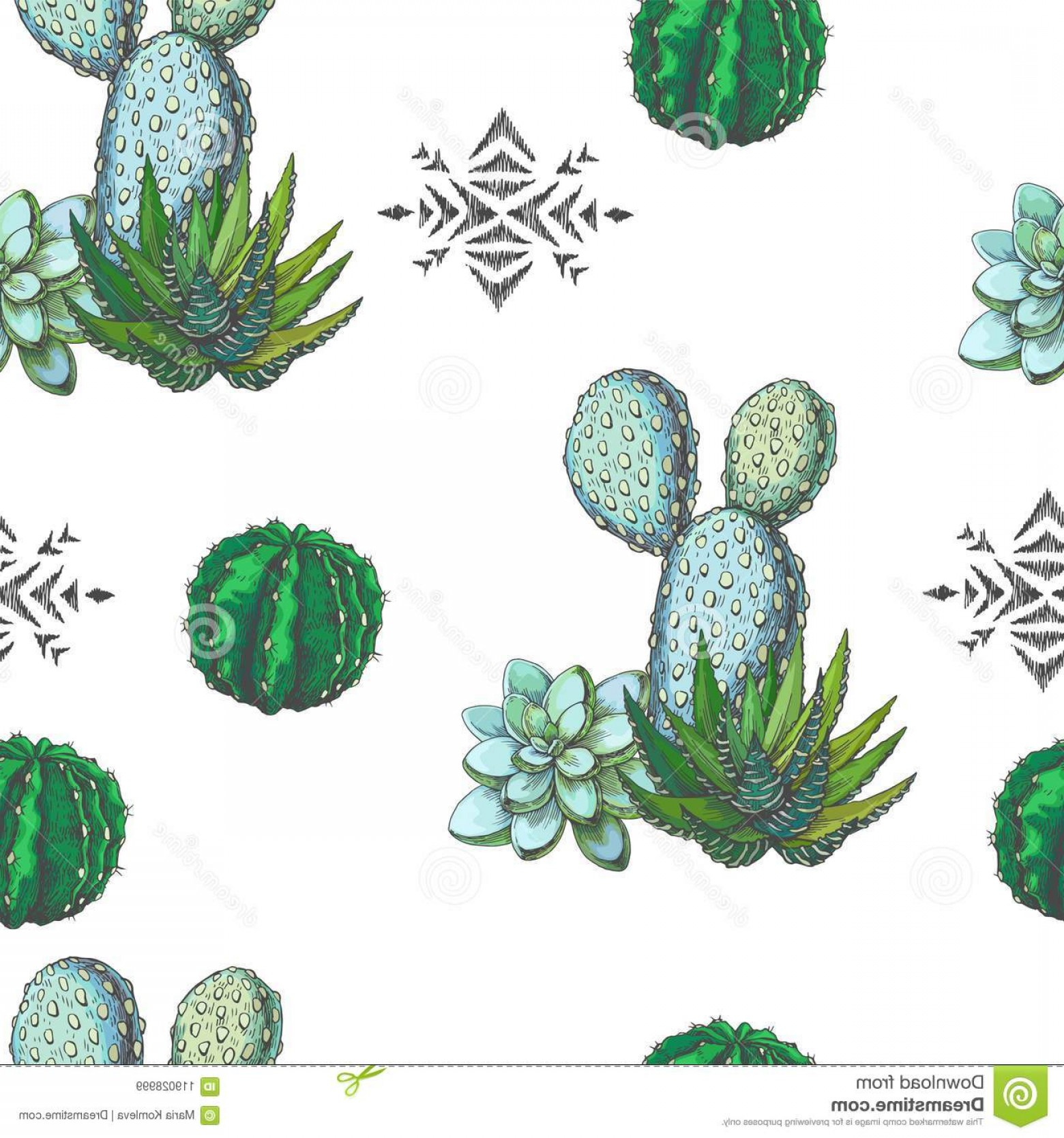 Aztec Cactus Vector: Vector Seamless Pattern Color Houseplants Aztec Ornament Vintage Illustration Cactus Succulents Engraving Image