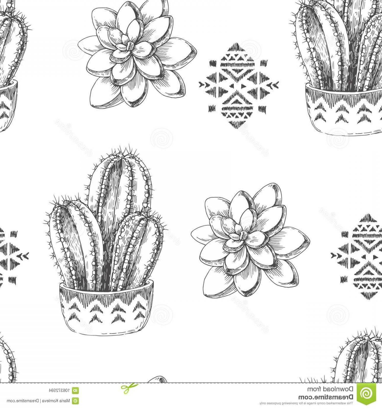 Aztec Cactus Vector: Vector Seamless Pattern Houseplants Aztec Ornament Vin Ornaments Vintage Illustration Cactus Succulents Engraving Image
