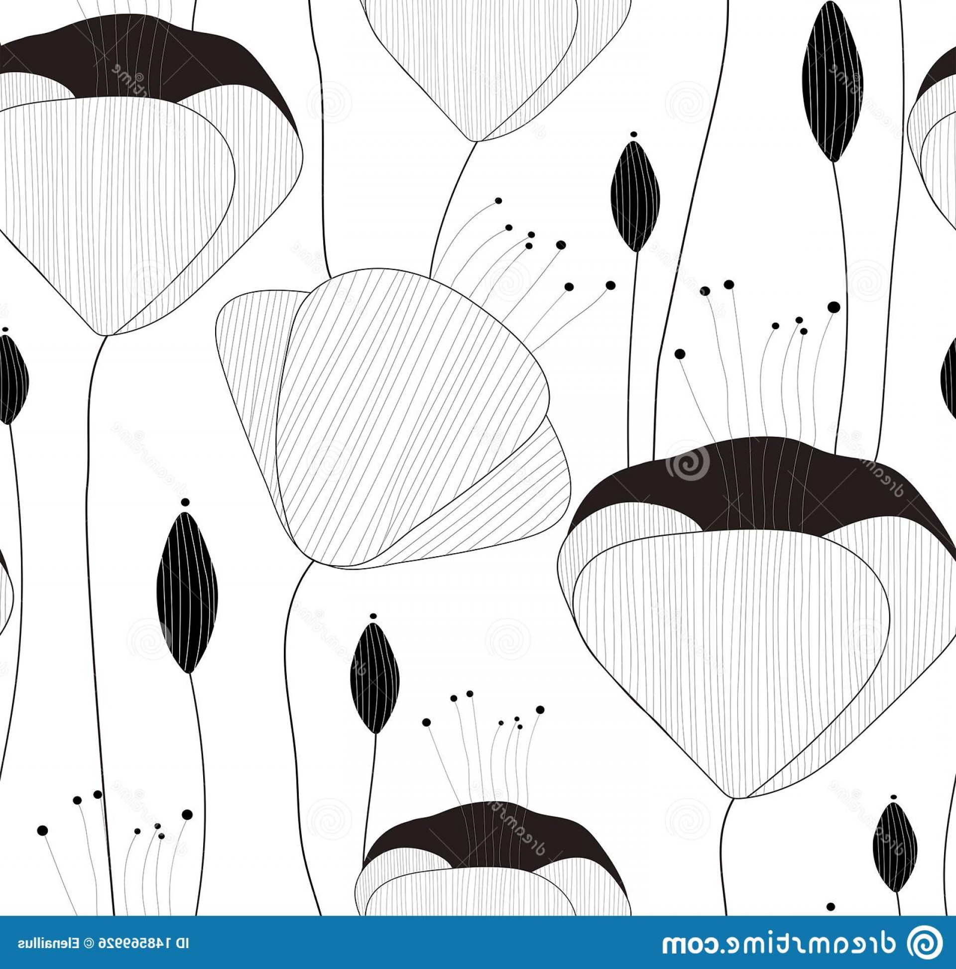 Hand Prints Vector Transparent Background: Vector Seamless Pattern Texture Print Hand Drawn Flowers Buds Transparent Background Image