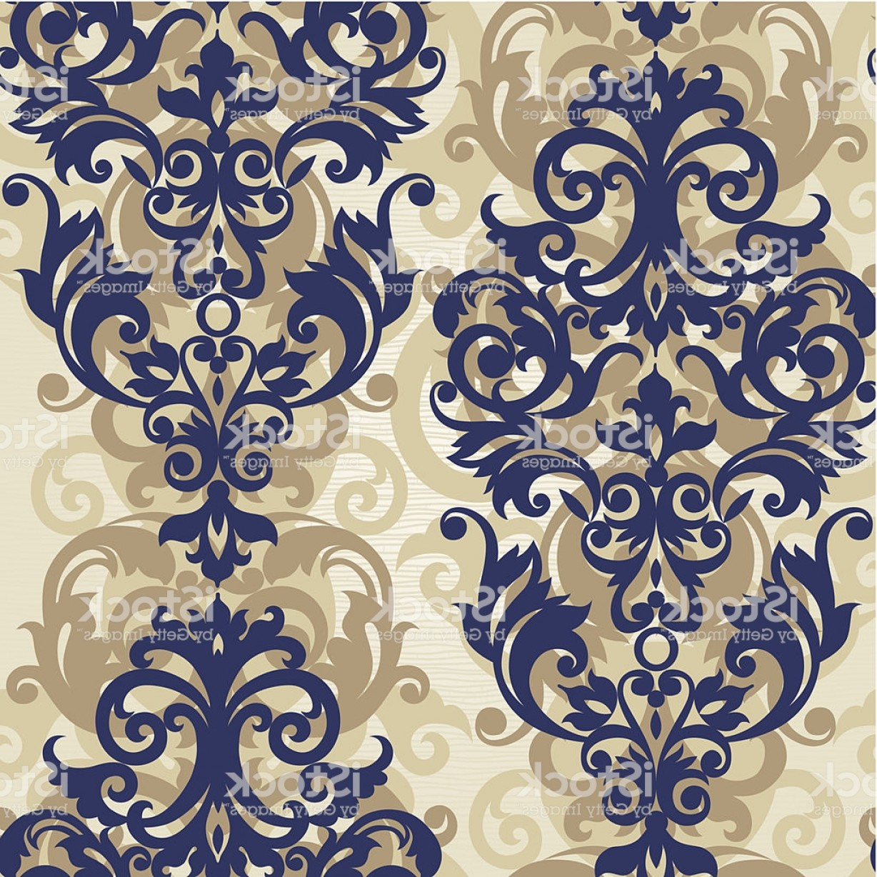Victorian Motif Vector: Vector Seamless Pattern With Floral Motifs In Victorian Style Gm