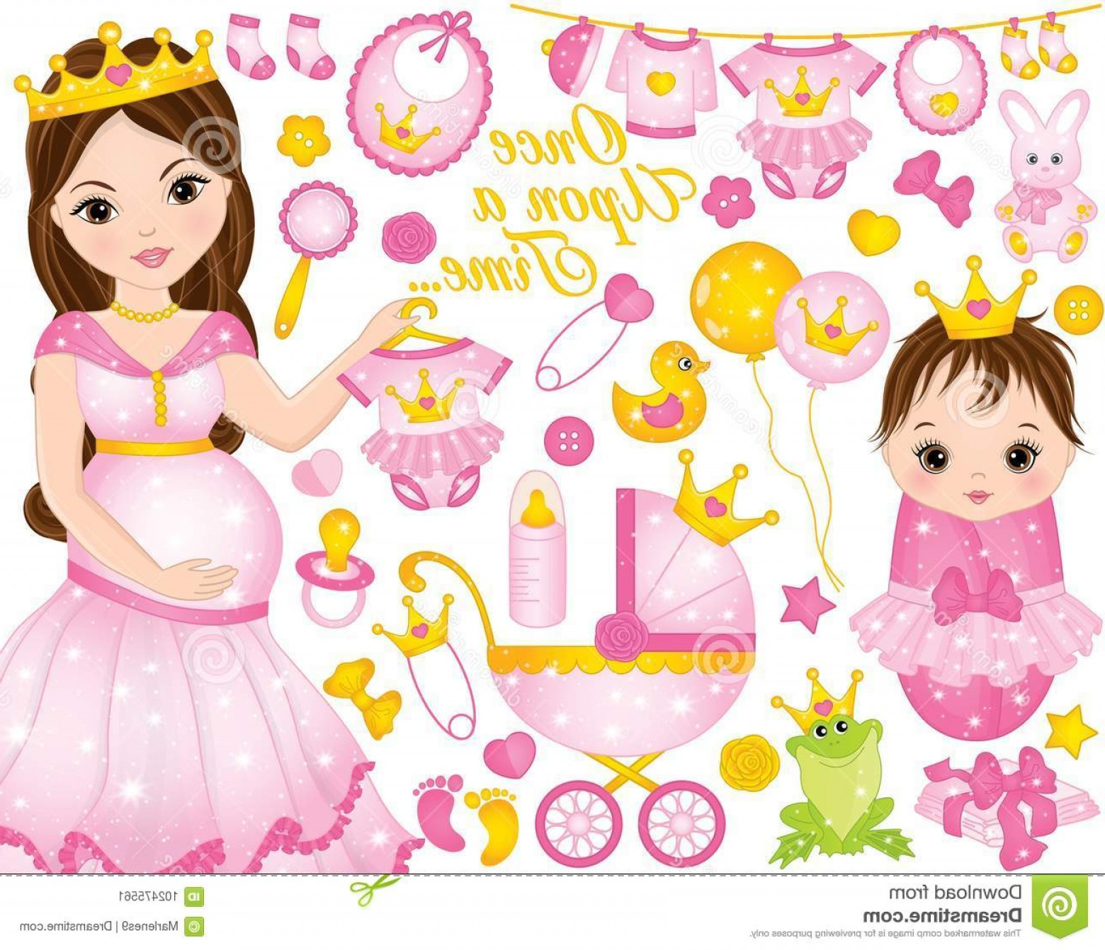 Princess Baby Girl Vector: Vector Set Baby Girl Shower Pregnant Woman Dresses As Princesses Includes Beautiful Cute Little Princess Illustration Image