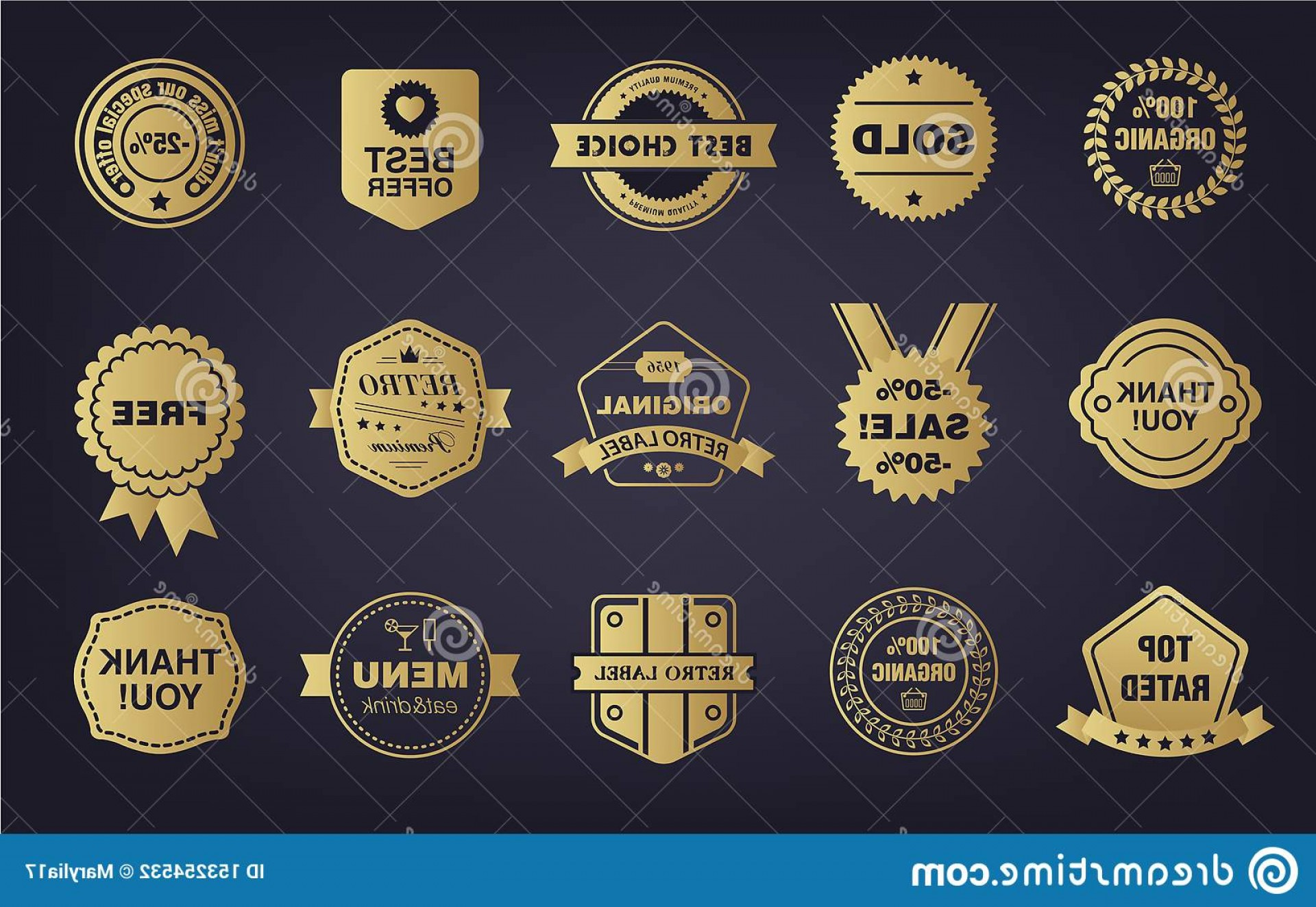 Badge Vector 1920'Sribbon: Vector Set Golden Shop Vintage Retro Badges Labels Tags Store Signs Ribbons Image