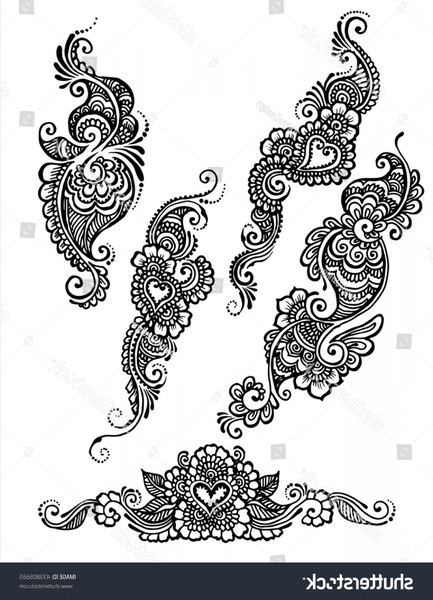 Simple Paisley Vector Border: Vector Set Henna Style Floral Paisley