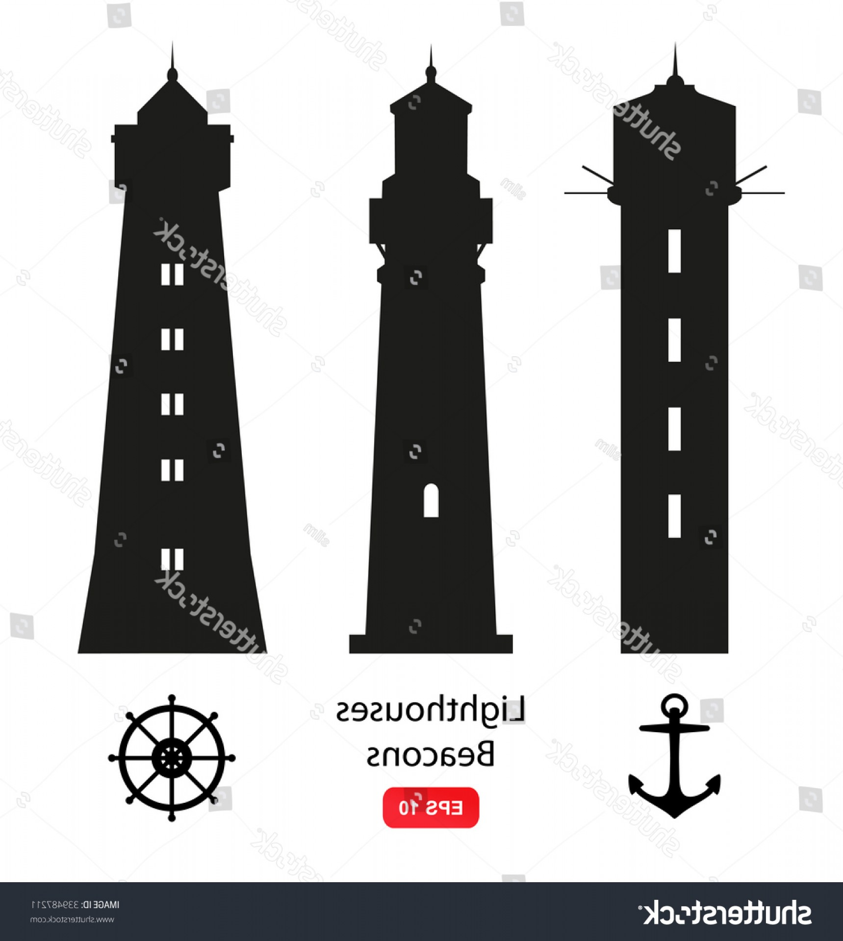 Lighthouse Beacon Silhouette Vector: Vector Set Isolated Silhouettes Lighthouses Beacons