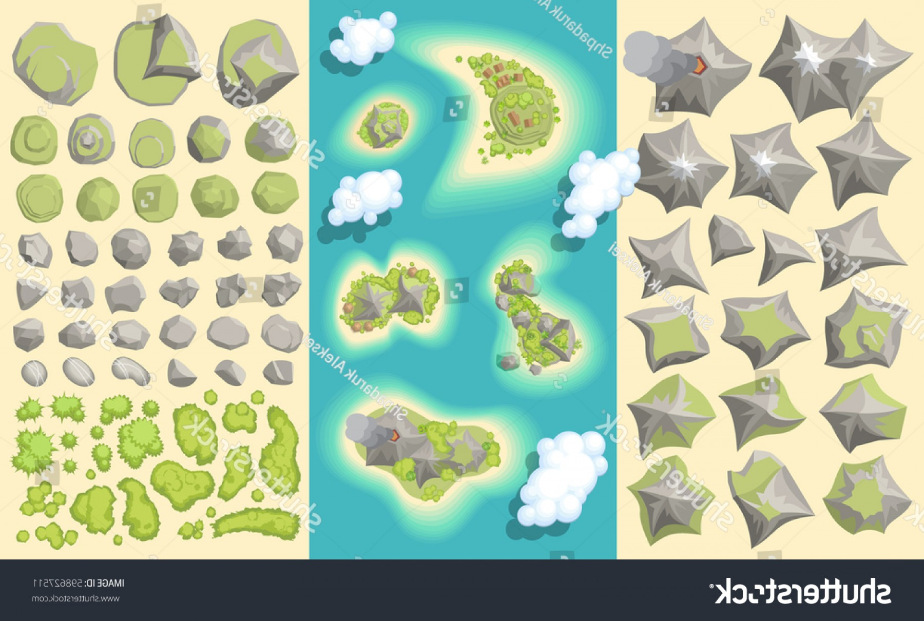 Vector Stone Landscaping: Vector Set Landscaping Elements Island Map