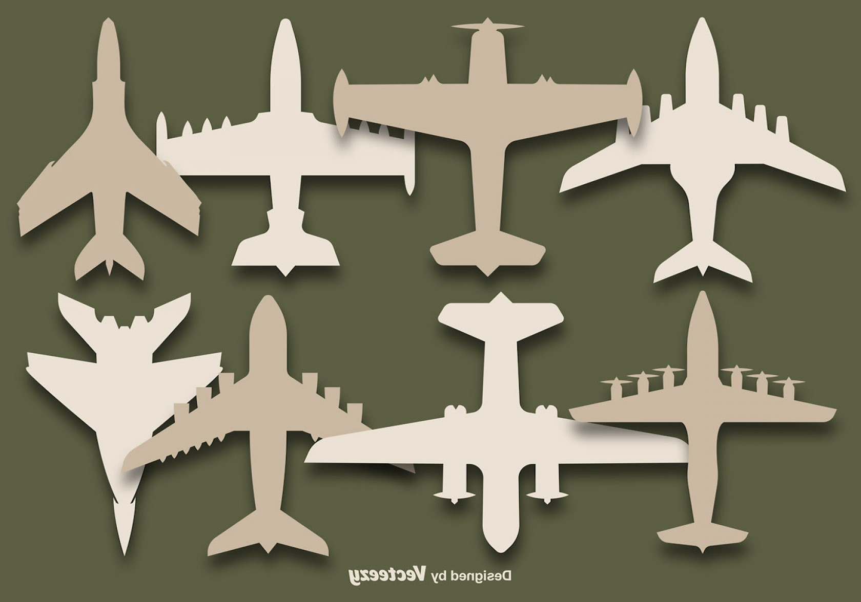 Old School Airplane Fighter Silhouette Vector: Vector Set Of Airplanes Silhouettes