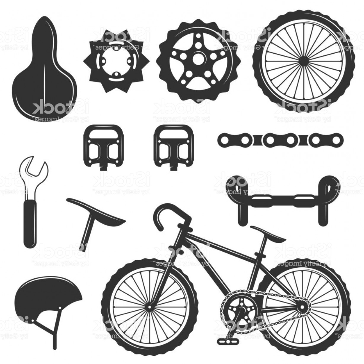 BMX Bike Tire Vector: Vector Set Of Bicycle Parts Isolated Icons Black And White Bicycle Symbols And Gm