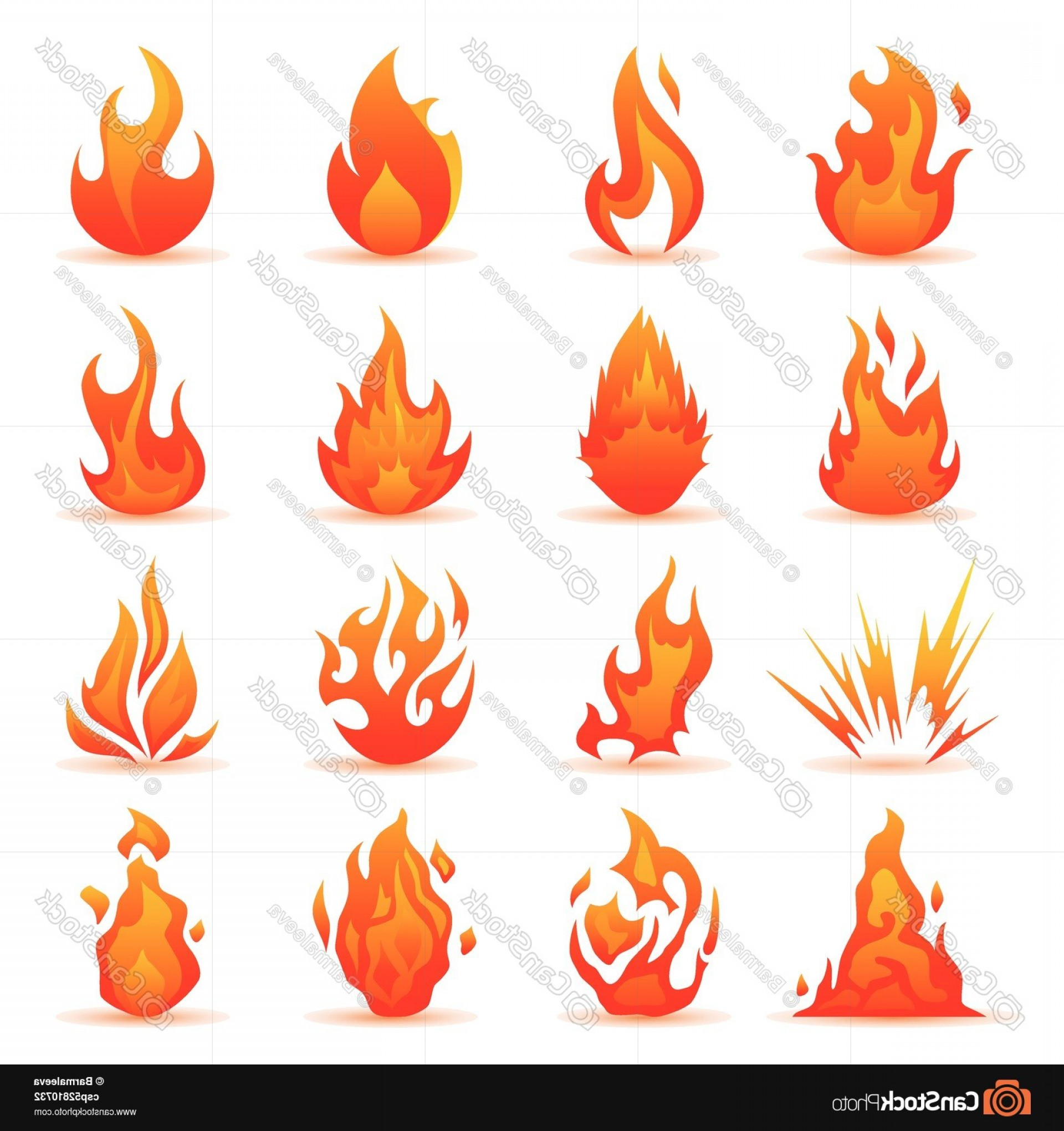 Fire Clip Art Vector: Vector Set Of Fire And Flame Icons
