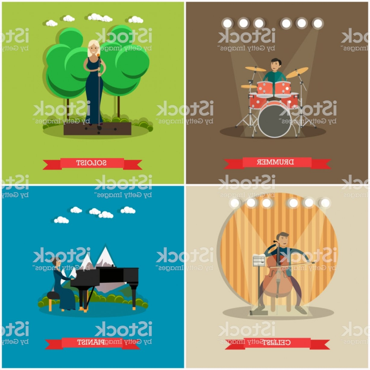 Singers Vector Art: Vector Set Of Singers And Musicians Concept Flat Posters Gm
