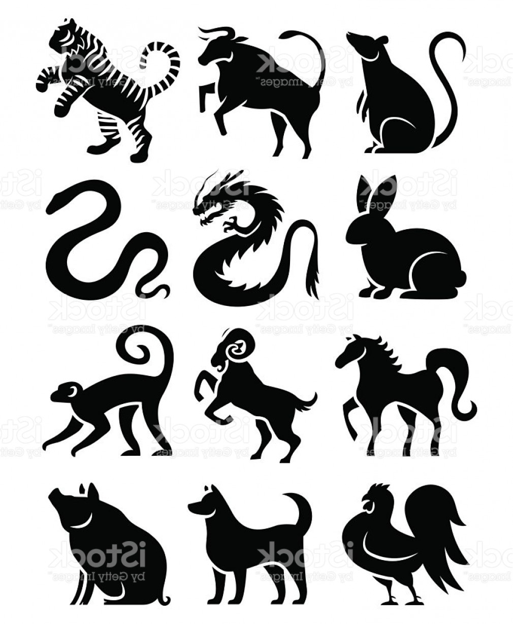 Chinese Zodiac Signs Vector: Vector Set Of Stylized Chinese Zodiac Signs Gm