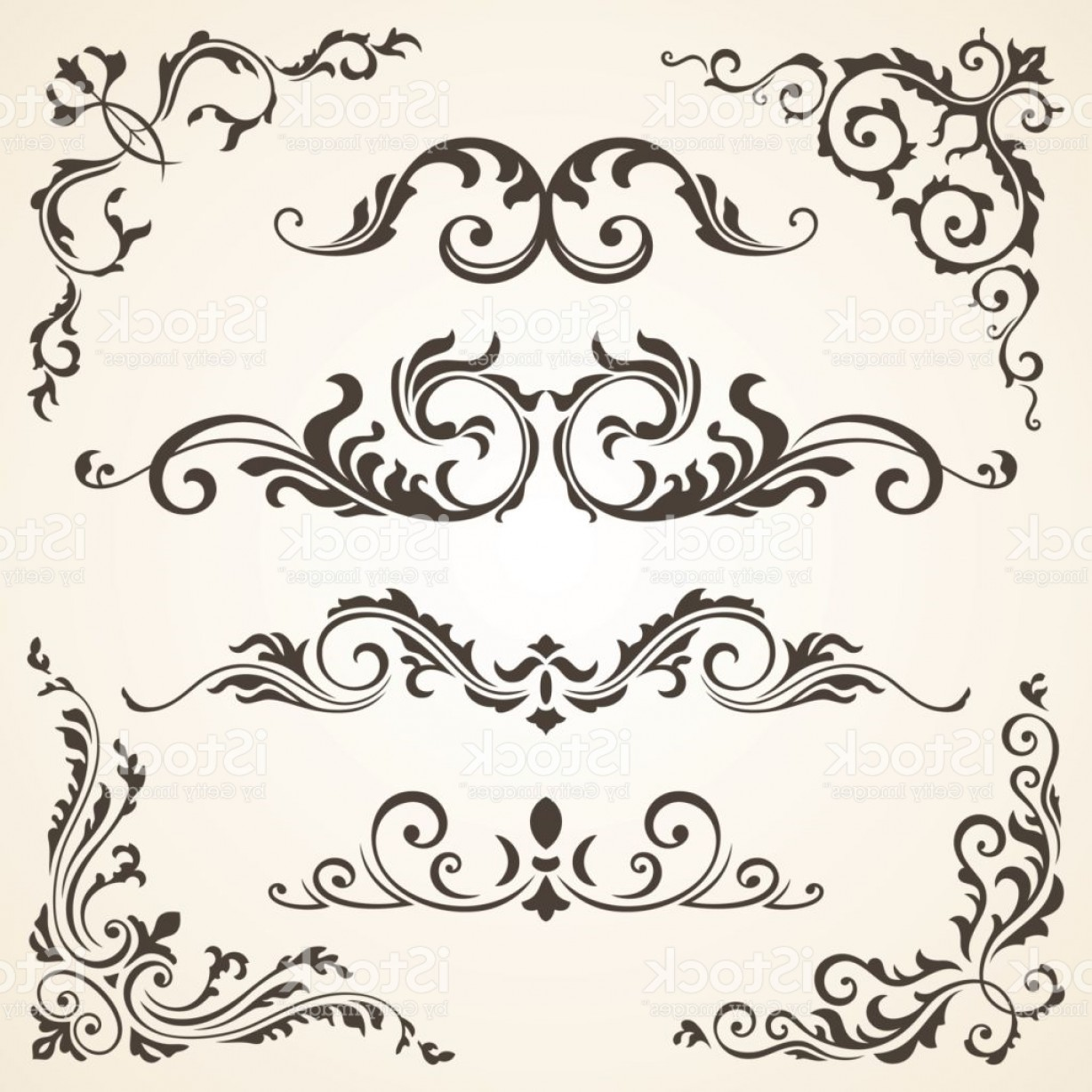 Floral Vector Calligraphy: Vector Set Of Swirl Elements And Corners For Design Calligraphic Page Decoration Gm