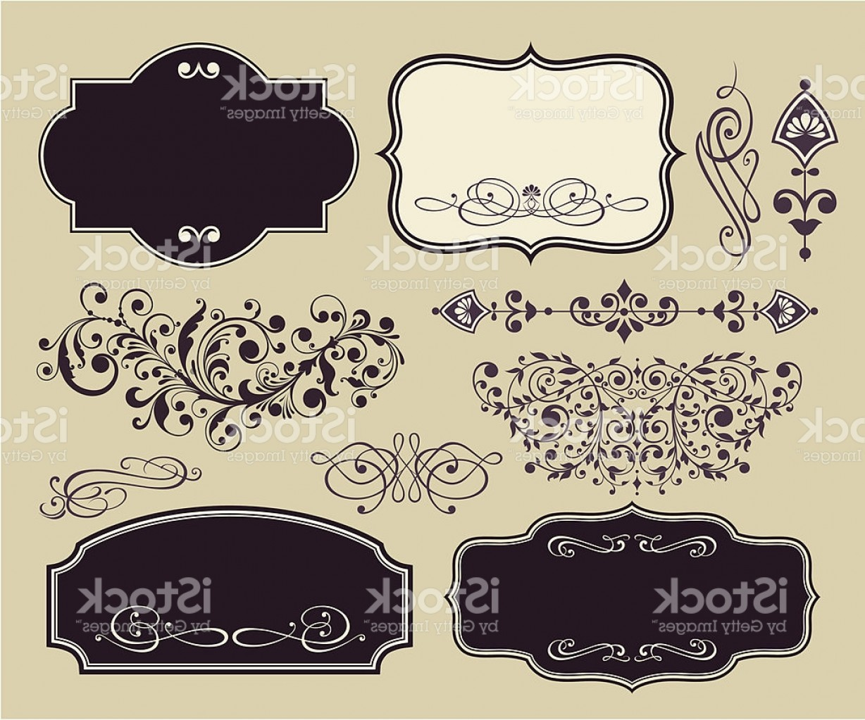 Sign Shapes Vector Art: Vector Set Of Vintage Shapes And Ornaments Gm