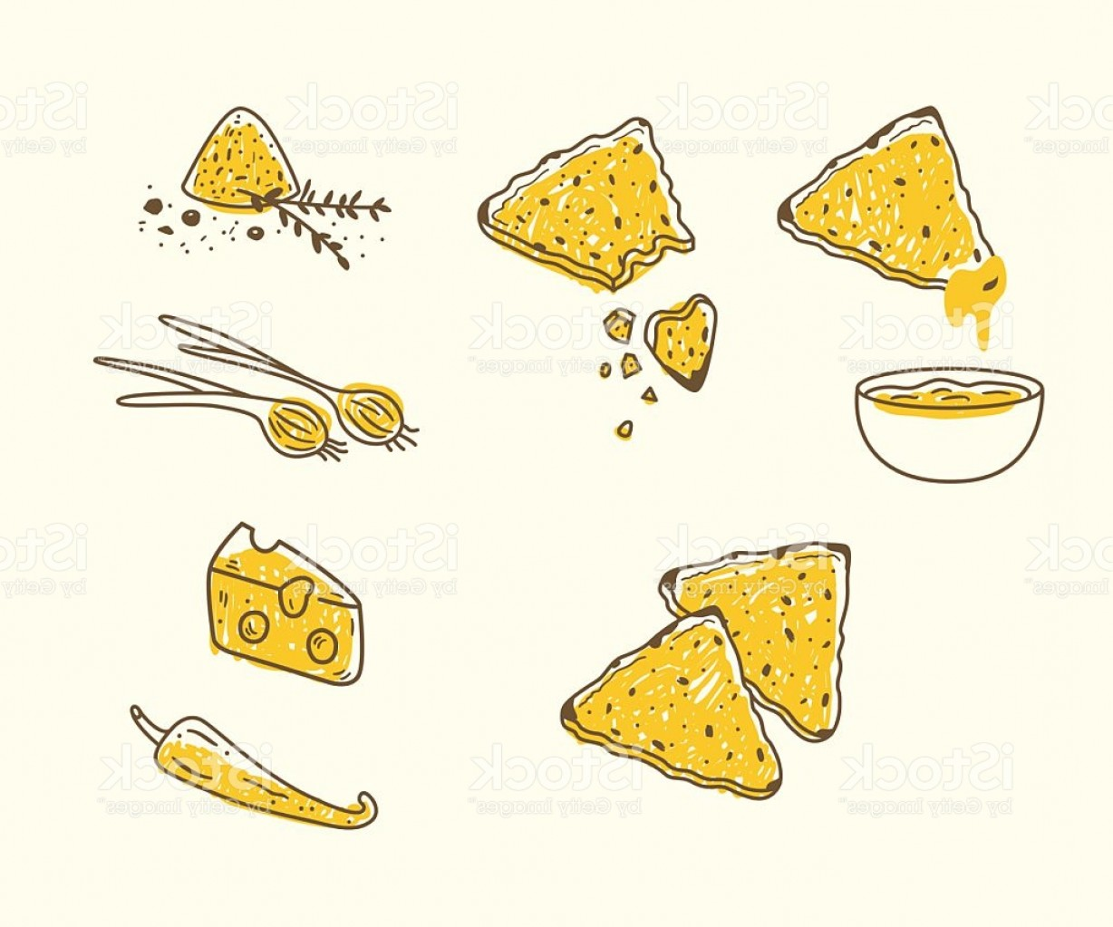 Chips Queso Vector: Vector Set With Tortilla Chips And Dips Gm