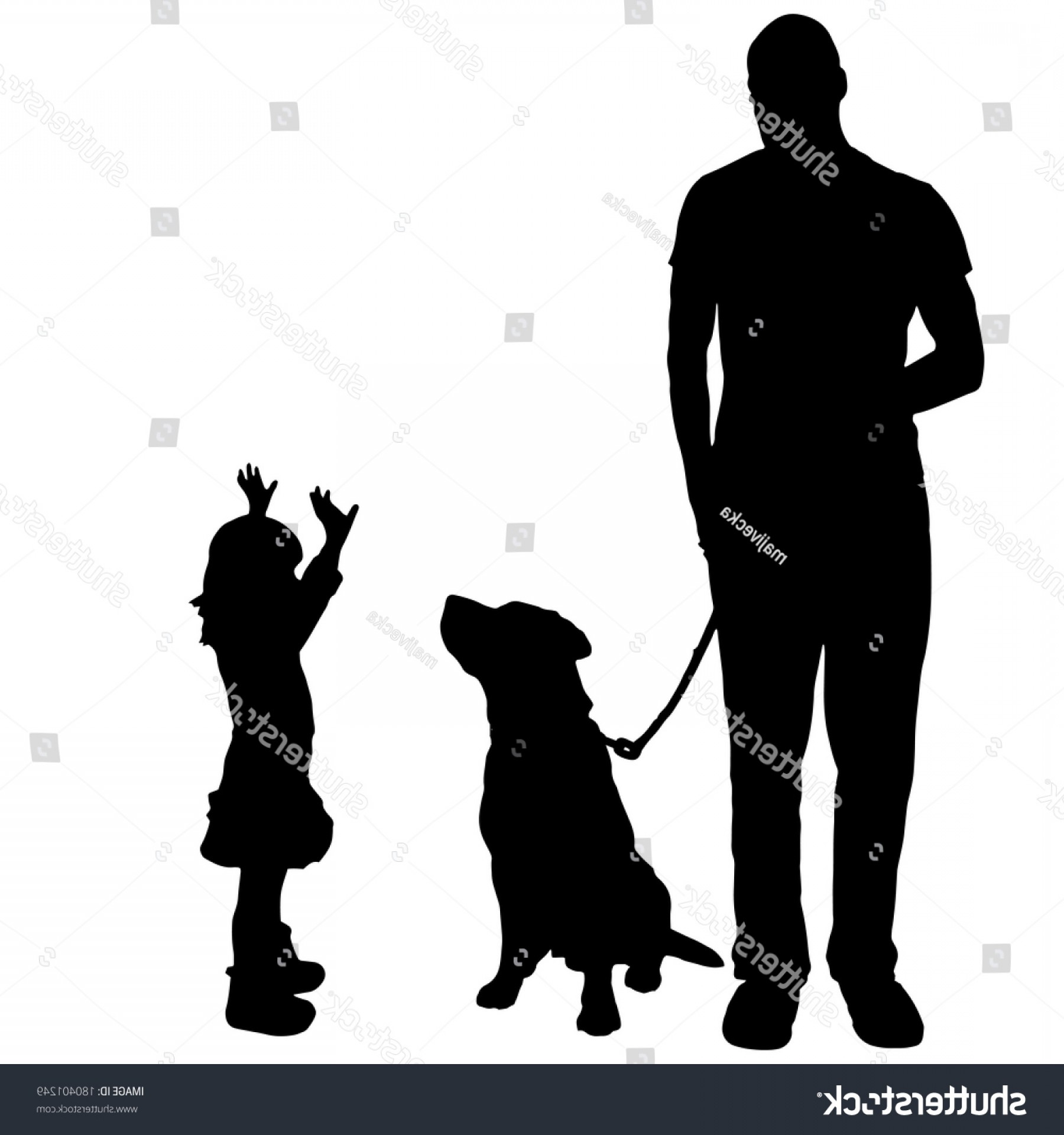 Vector Silhouette Dog Walk: Vector Silhouette Family Dog Walk