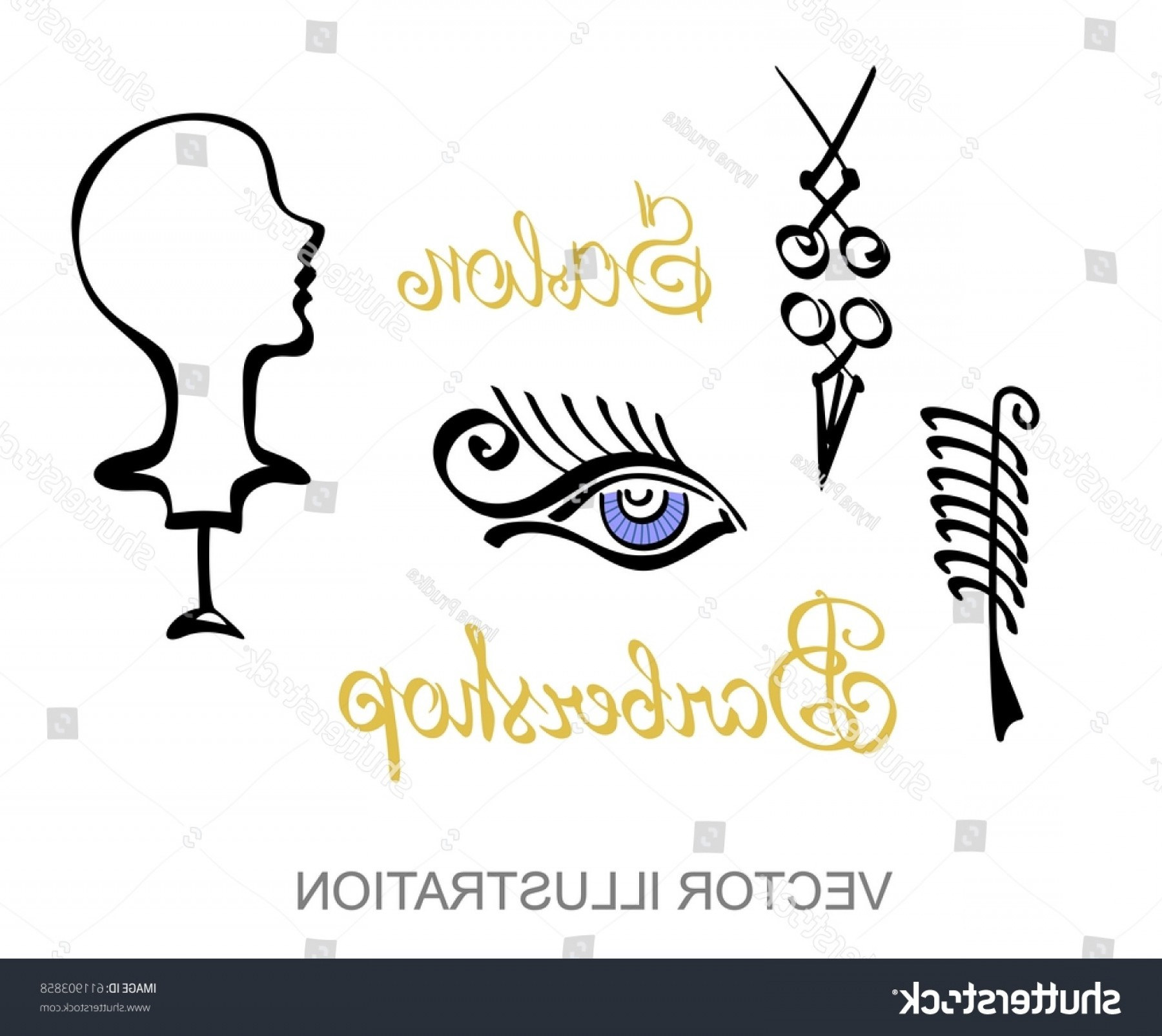 Golden Barber Vector: Vector Silhouette Woman Eye Barber Shop