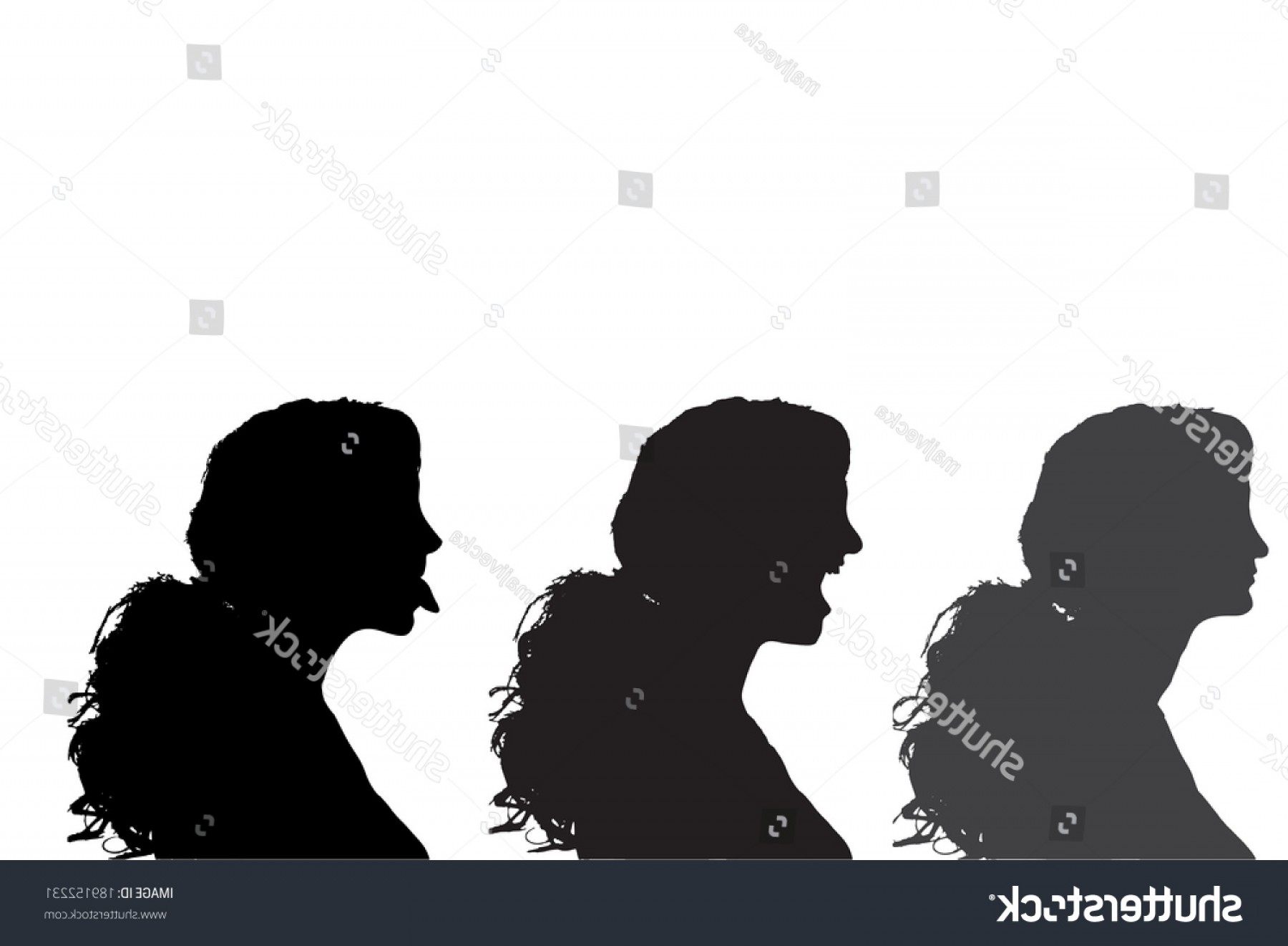 Soldier Woman Profile Vector: Vector Silhouettes Woman Profile On White