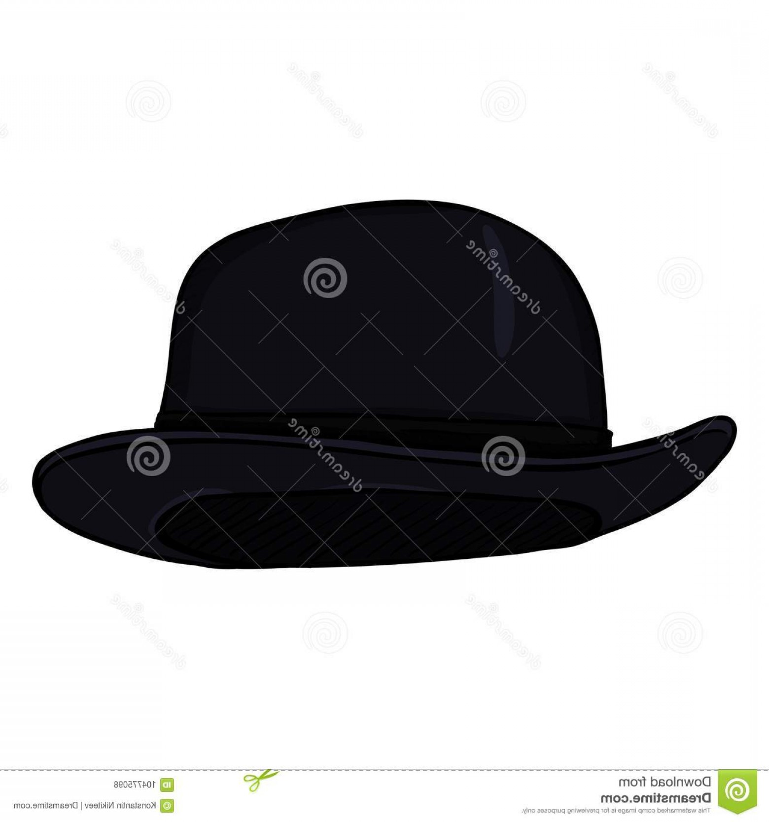 Bowler Hat Vector: Vector Single Cartoon Black Color Bowler Hat Image