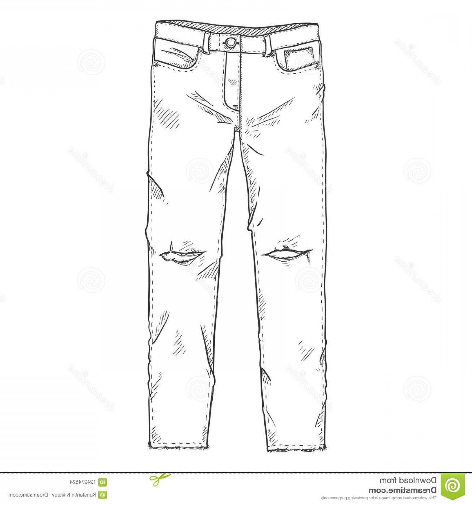 Vector Black Jeans: Vector Single Sketch Illustration Ripped Denim Jeans White Background Vector Sketch Illustration Ripped Denim Jeans White Image