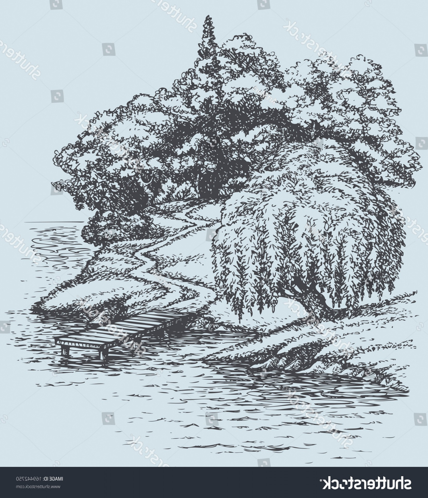 Vector Water Willow: Vector Sketch Landscape Willow On River