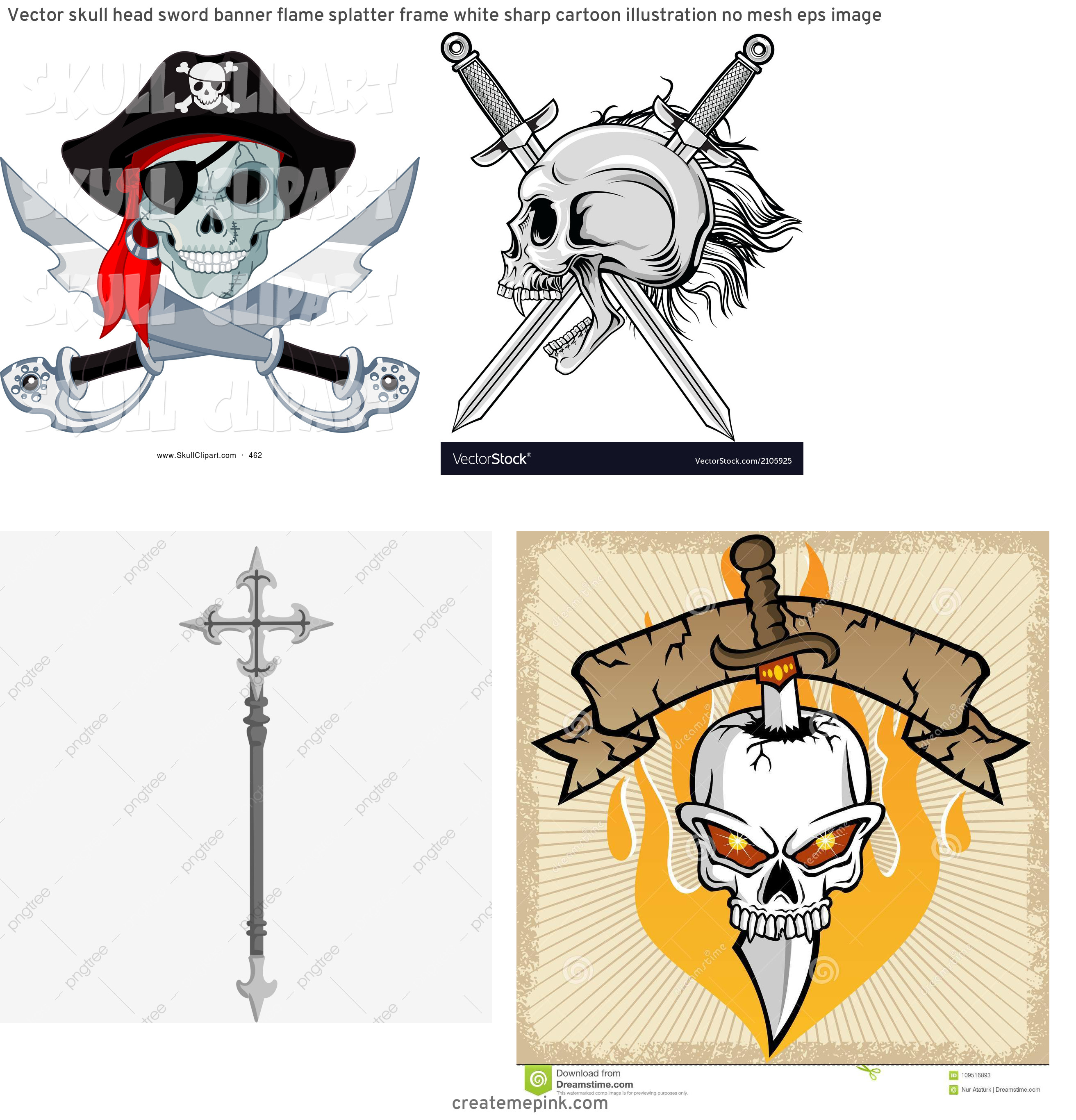 Skull Sword Vector: Vector Skull Head Sword Banner Flame Splatter Frame White Sharp Cartoon Illustration No Mesh Eps Image