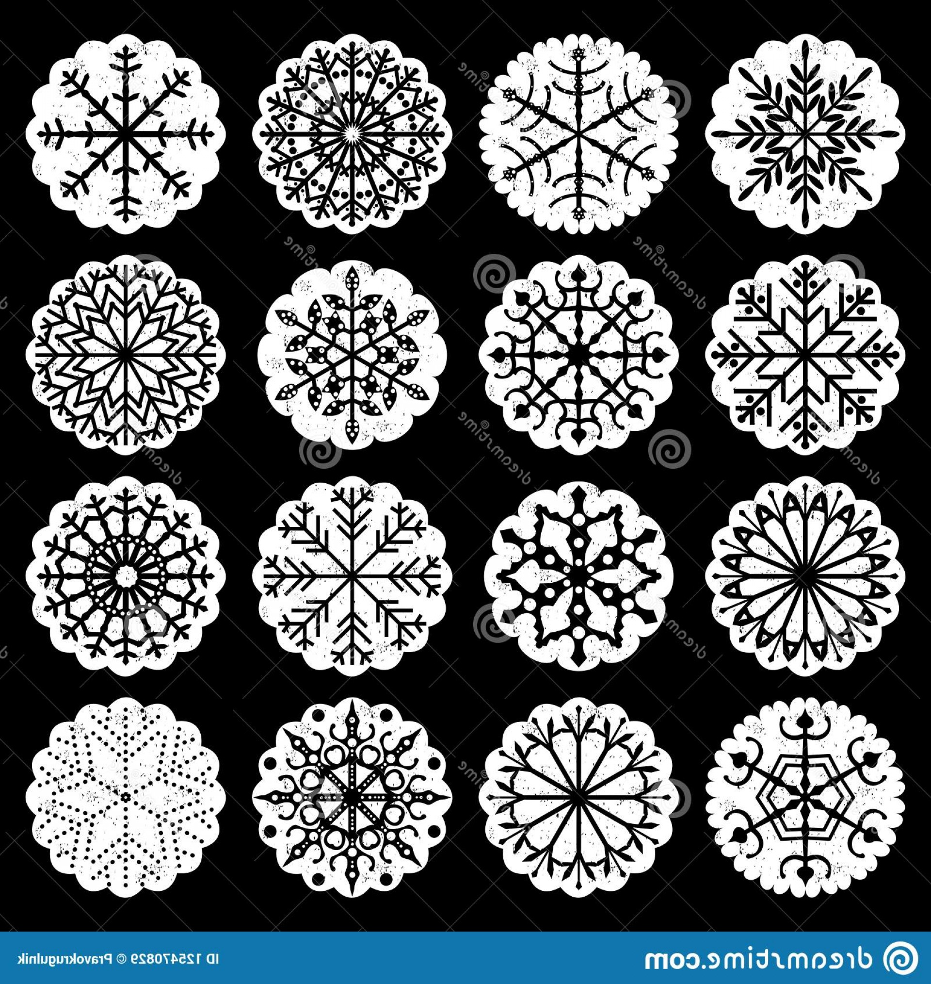 Black Scalloped Border Vector: Vector Snowflake Elements Scalloped Edges Black White Colors Winter Holiday Designs Snowflake Elements Image