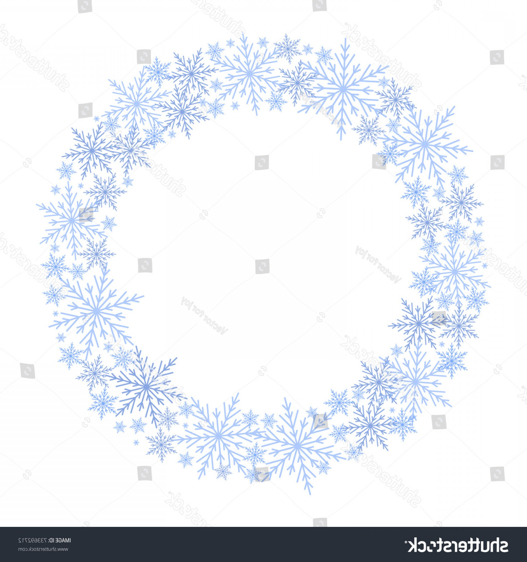 Vector Snowflake Wreath: Vector Snowflake Wreath Blue Circle Frame