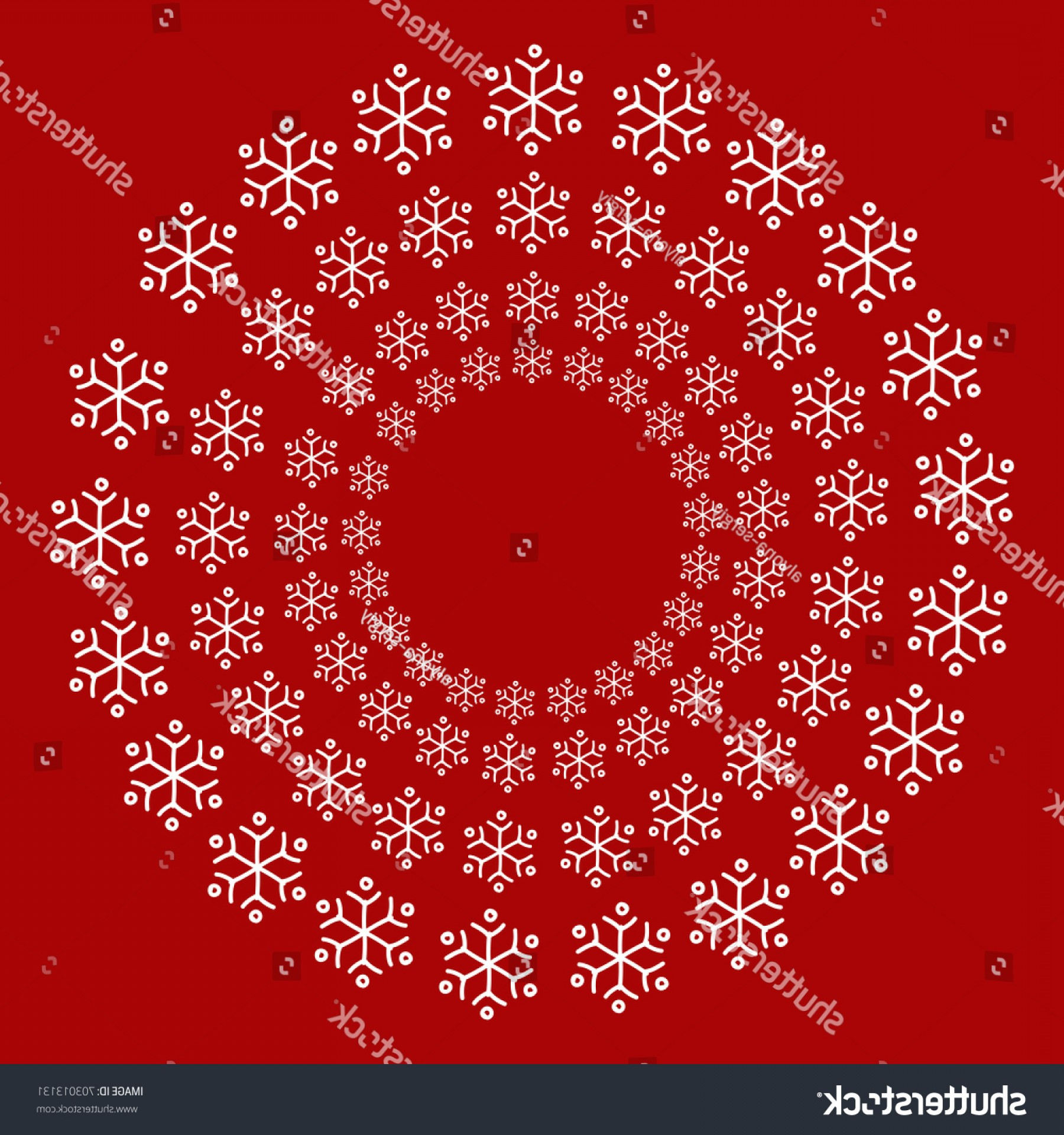 Vector Snowflake Wreath: Vector Snowflake Wreath Illustration Print Textile