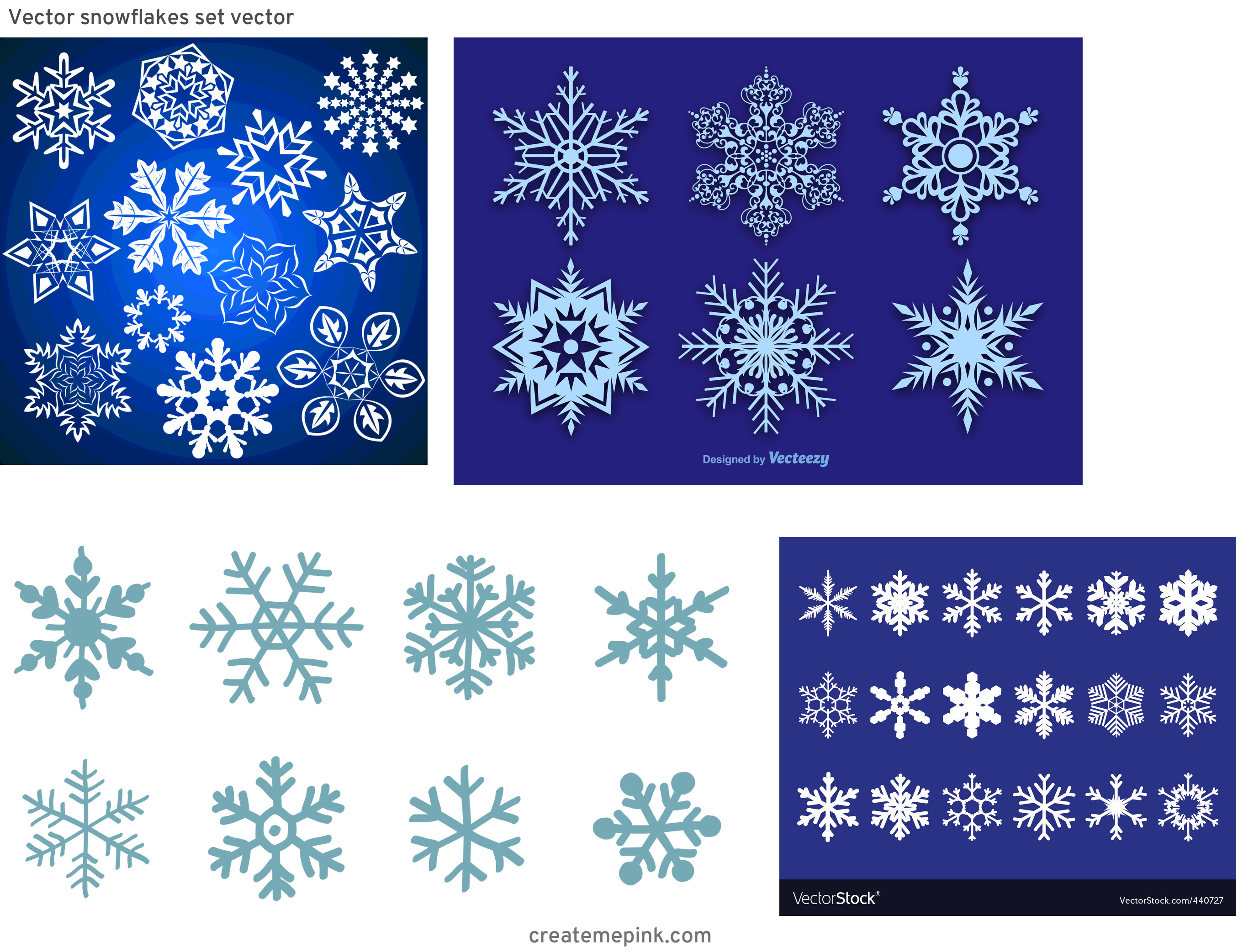 Free Vector Snow Flakes: Vector Snowflakes Set Vector