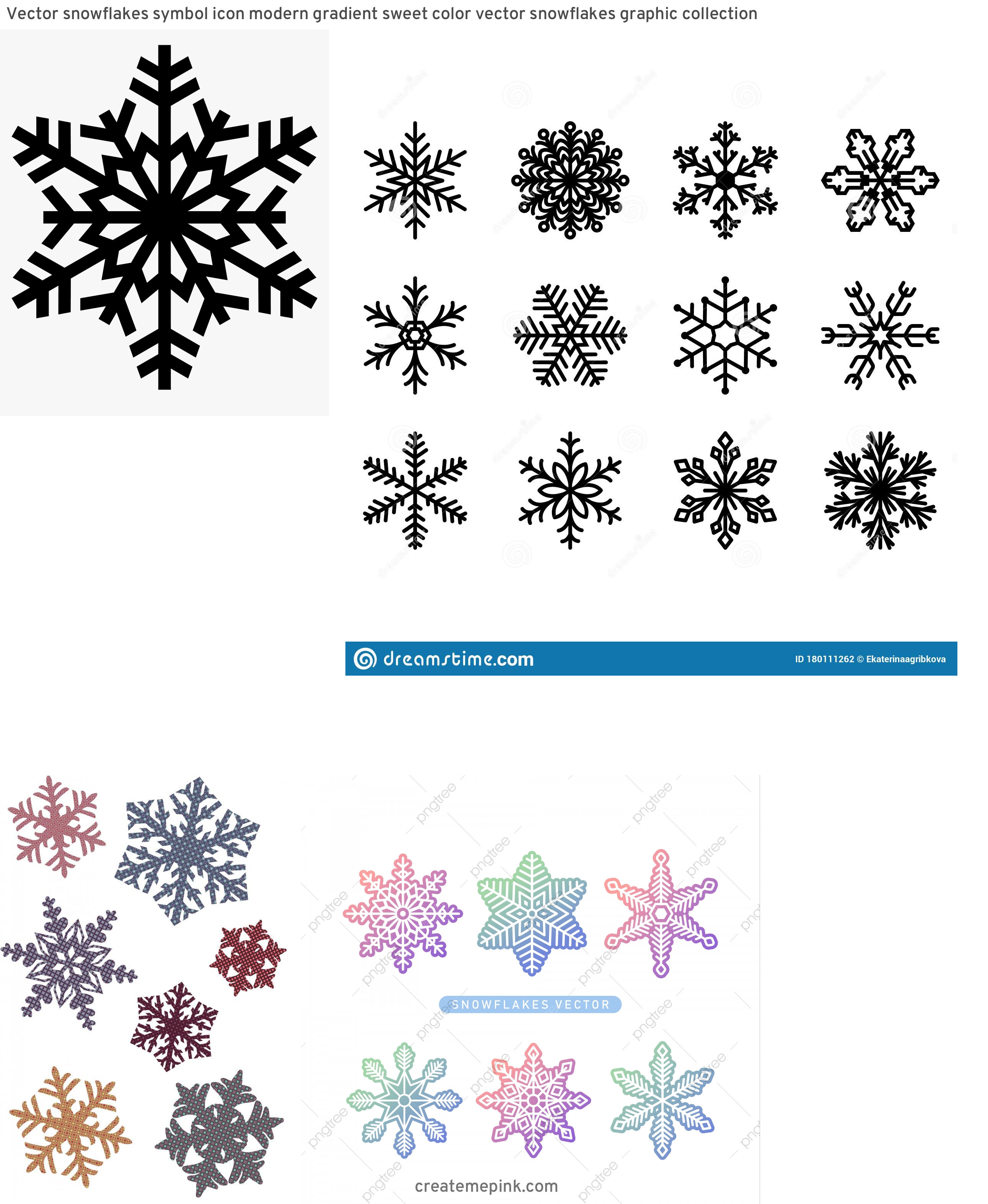 Free Vector Snow Flakes: Vector Snowflakes Symbol Icon Modern Gradient Sweet Color Vector Snowflakes Graphic Collection