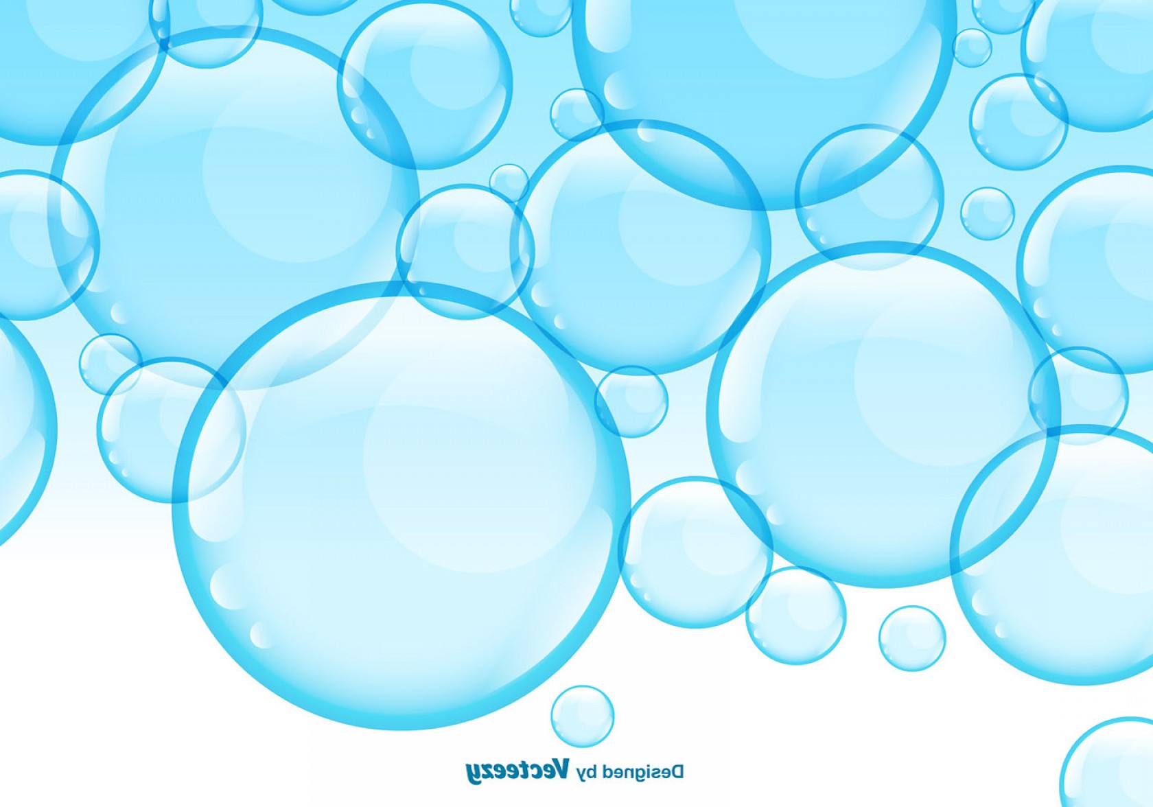 Vector Bubbles Circle: Vector Soap Blue Bubbles Background