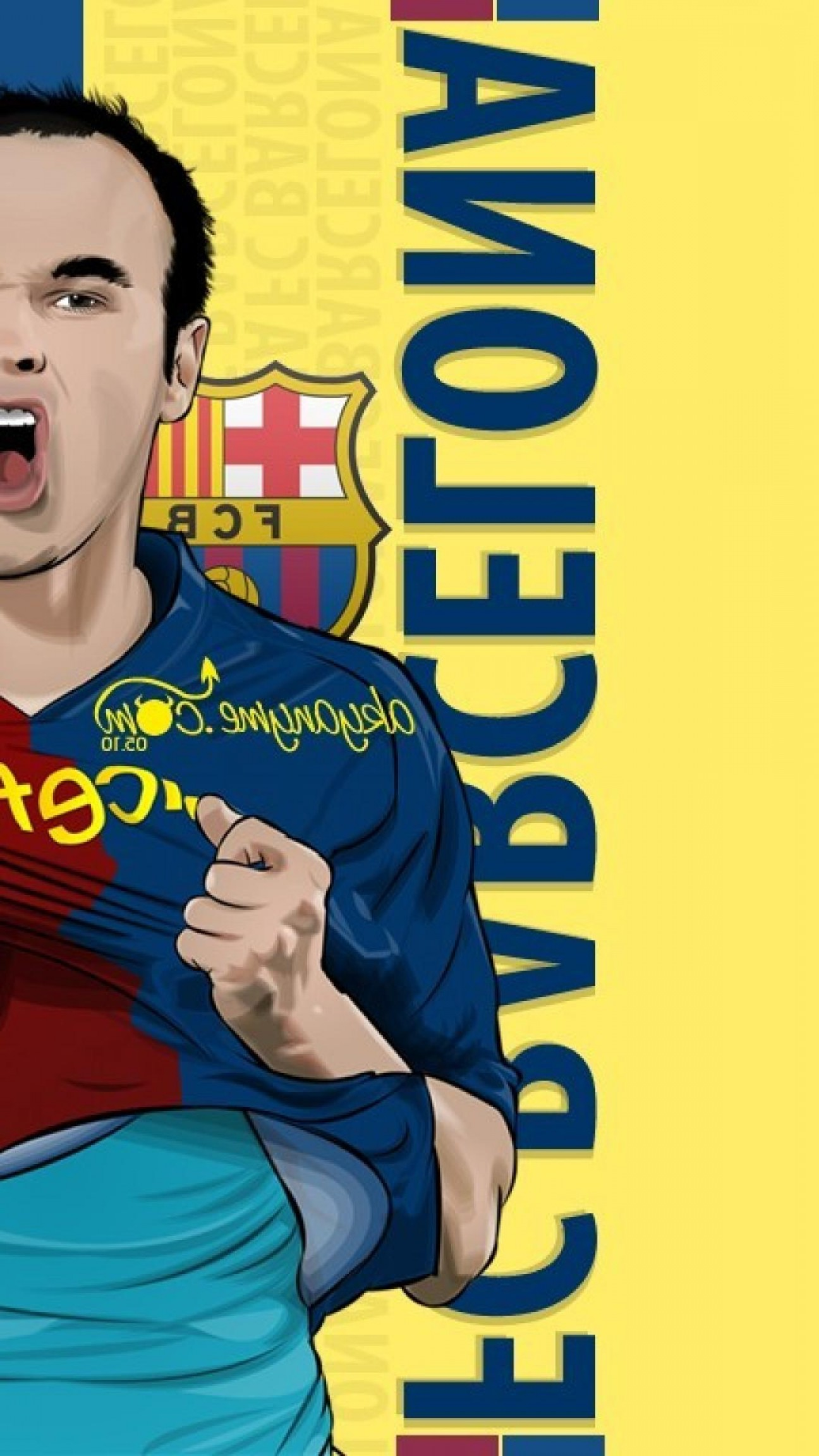 Football Vector Wallpaper: Vector Soccer Athletes Andres Iniesta Football Player Wallpaper