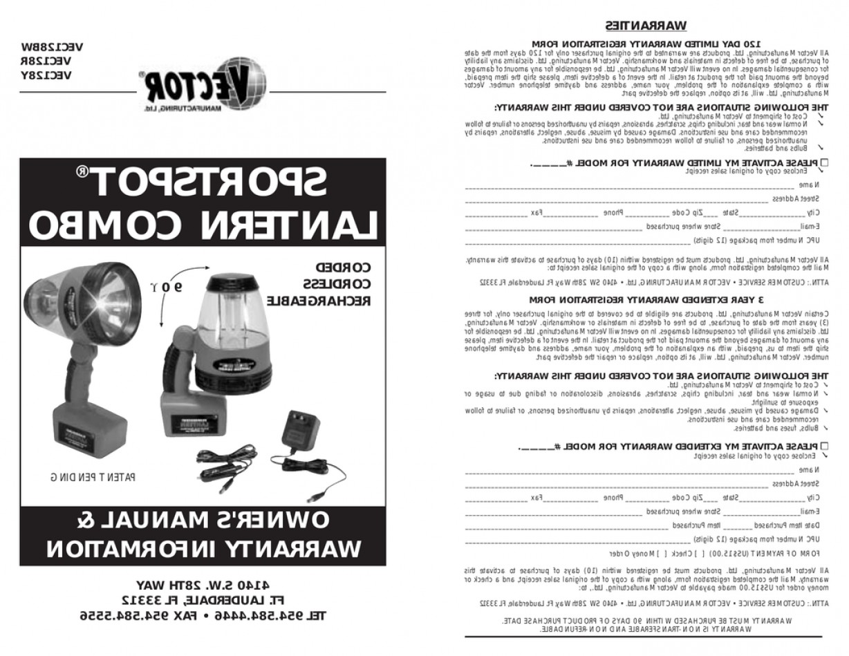 Corded Spotlight Vector: Vector Sportspot Vecbw User S Manual