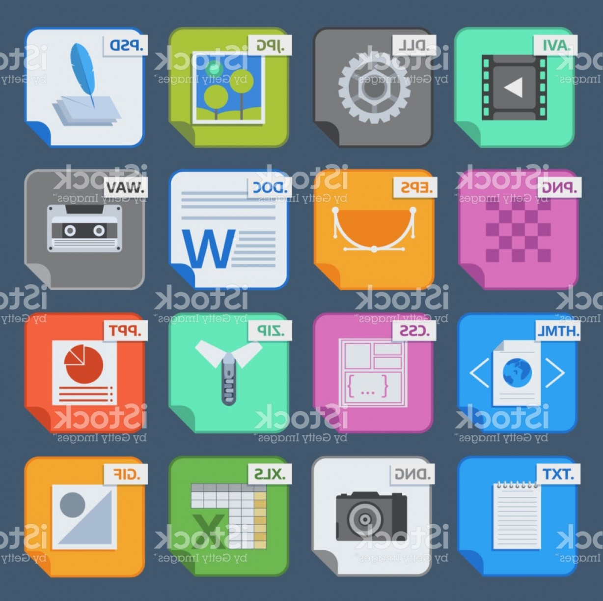 Free Vector File Software: Vector Square File Types And Formats Labels Icons Set File Type Format Icons Gm