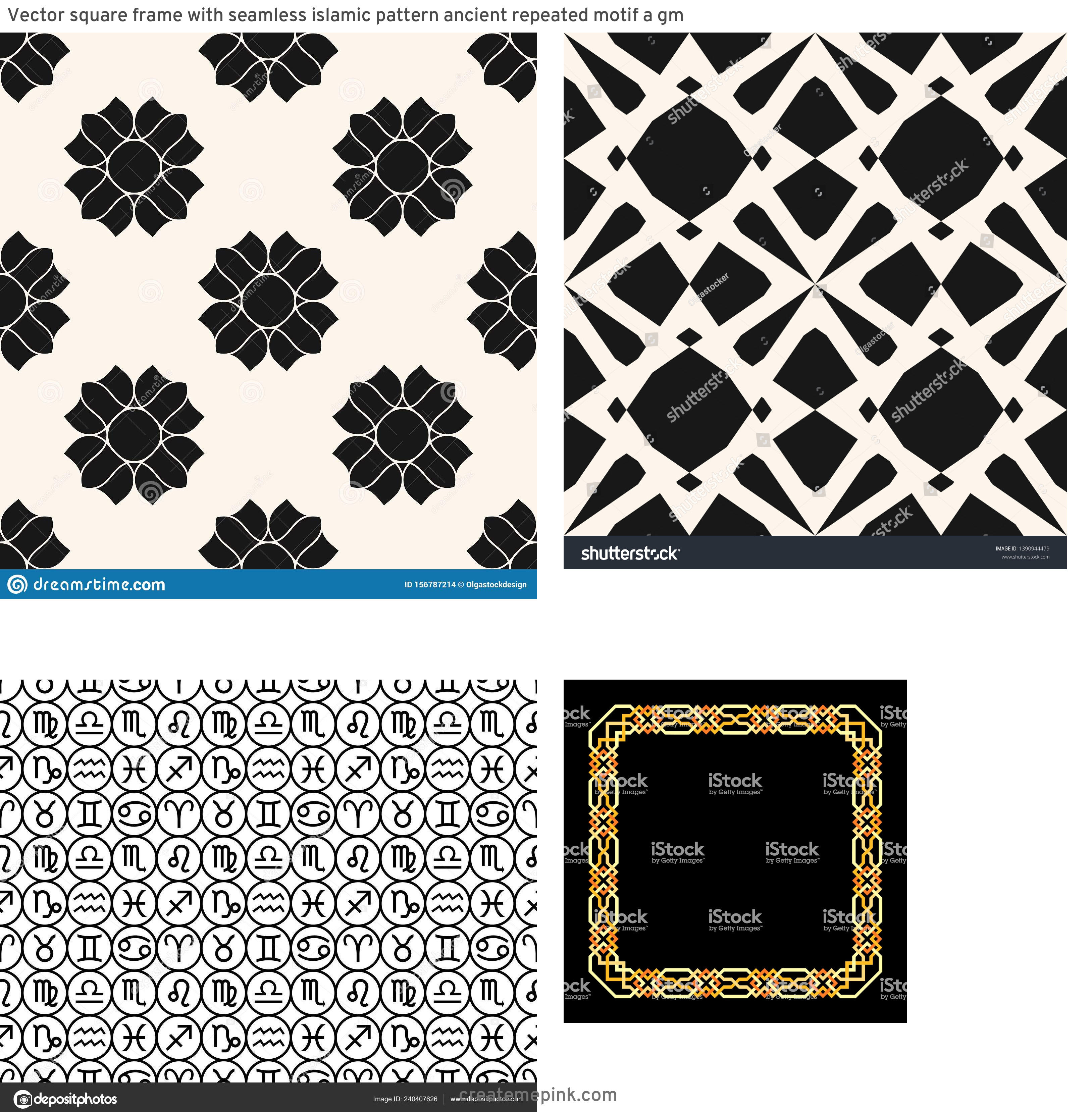 Simple Black Decorative Vector Patterns: Vector Square Frame With Seamless Islamic Pattern Ancient Repeated Motif A Gm