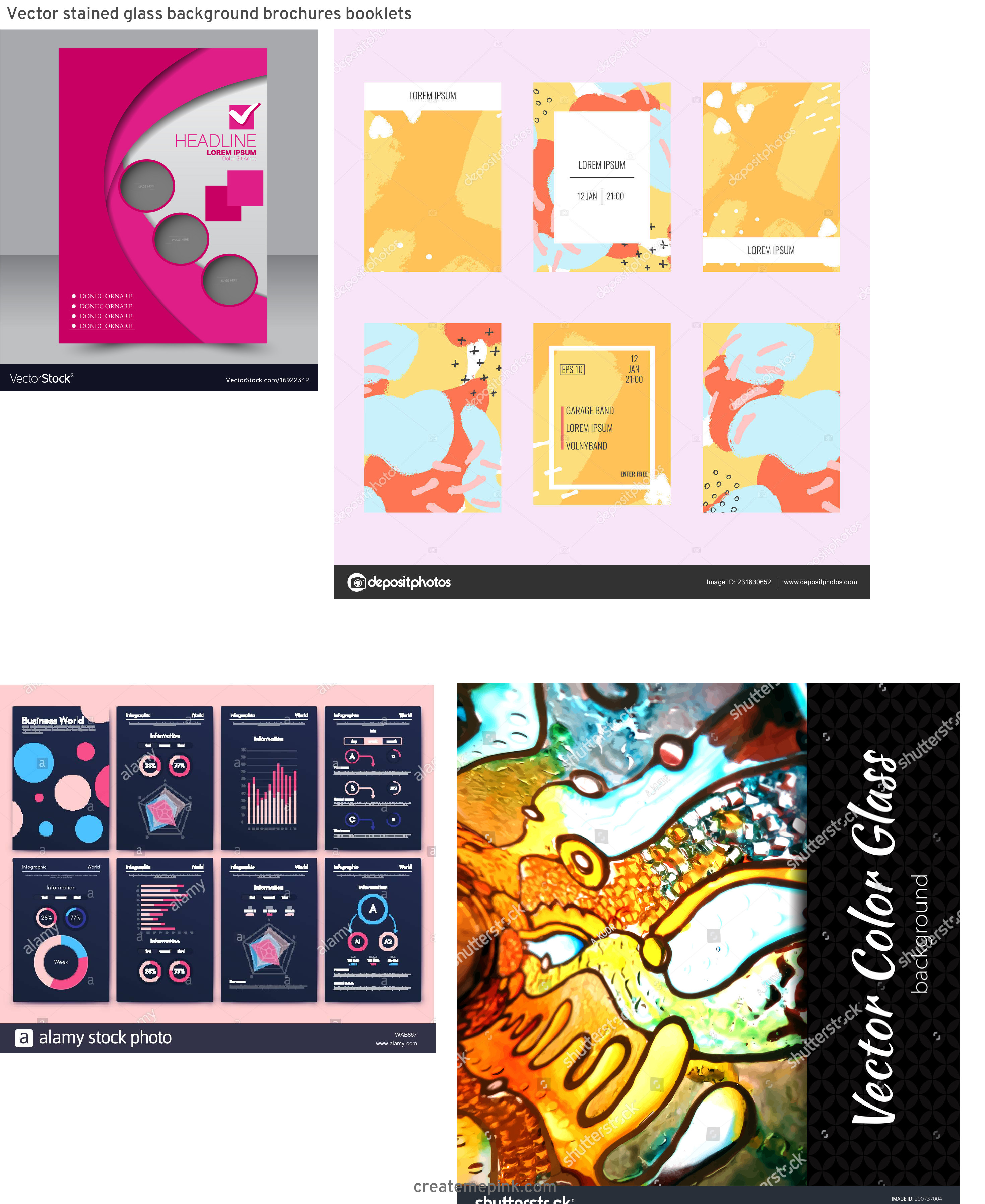 Vector Art For Brochures: Vector Stained Glass Background Brochures Booklets
