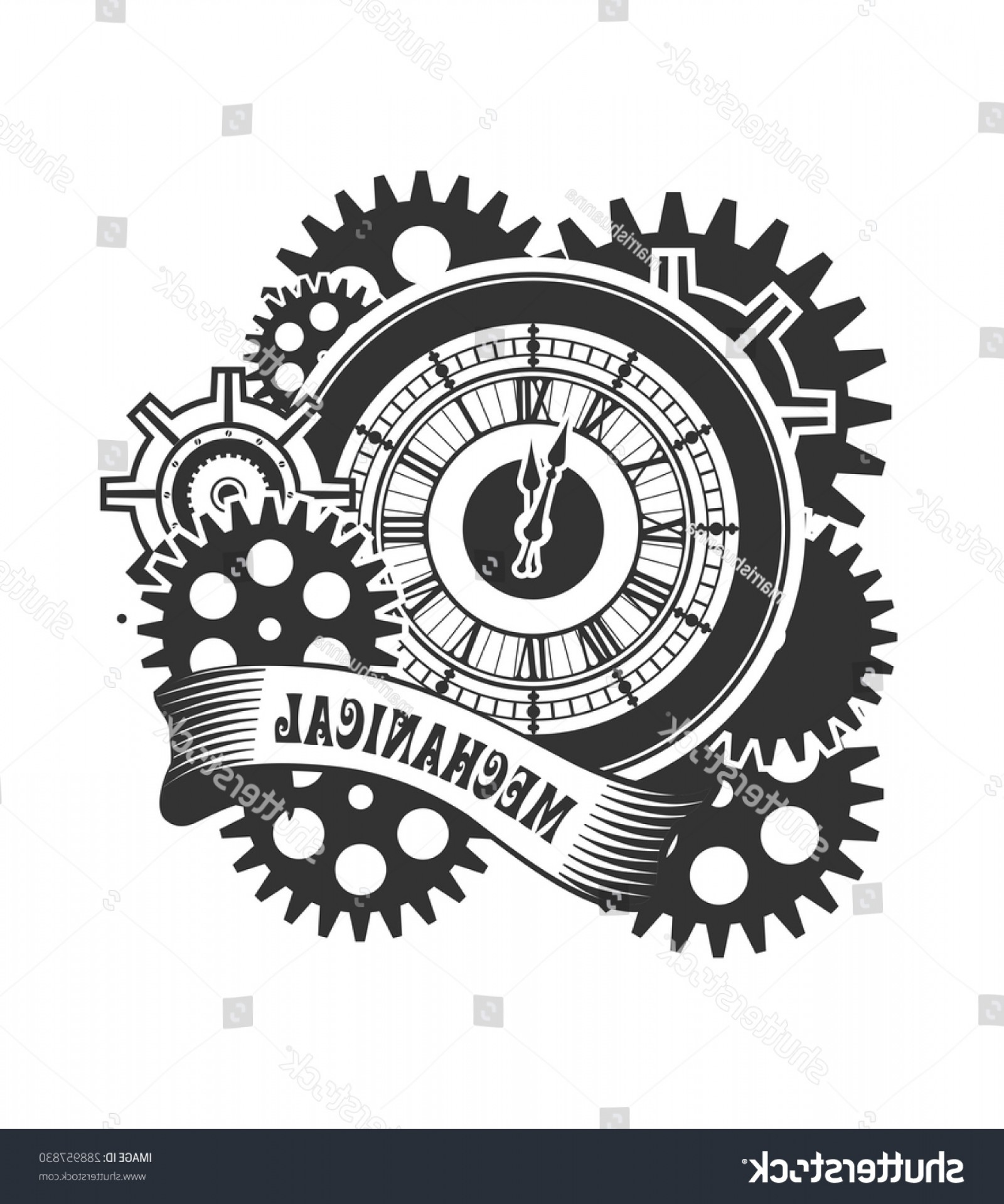 Vector Mechanical Clock Wheels: Vector Steam Punk Mechanical Clock Rotating