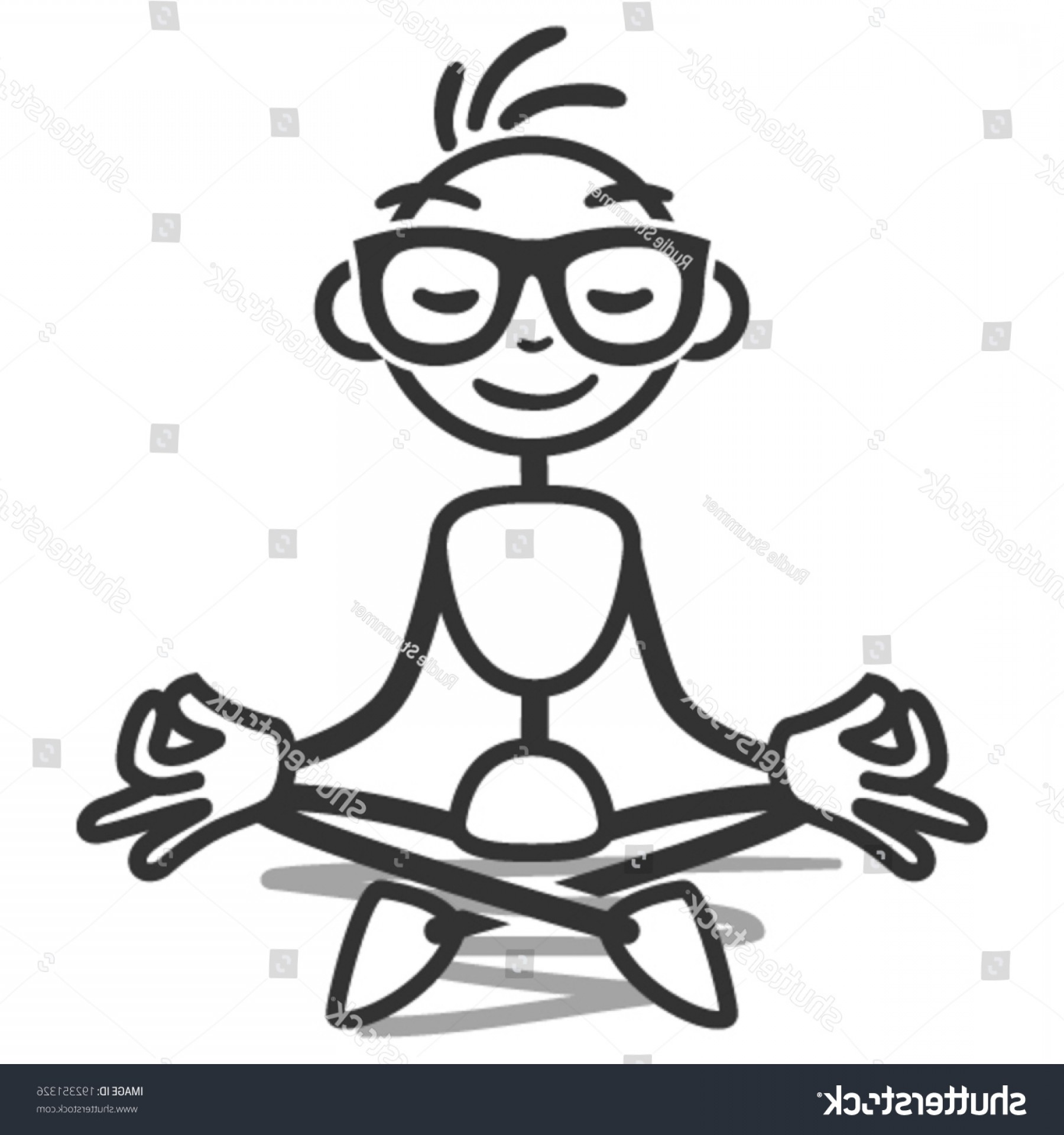 Vector Stick Figure Yoga Positions: Vector Stick Figure Illustration Meditating Stickman