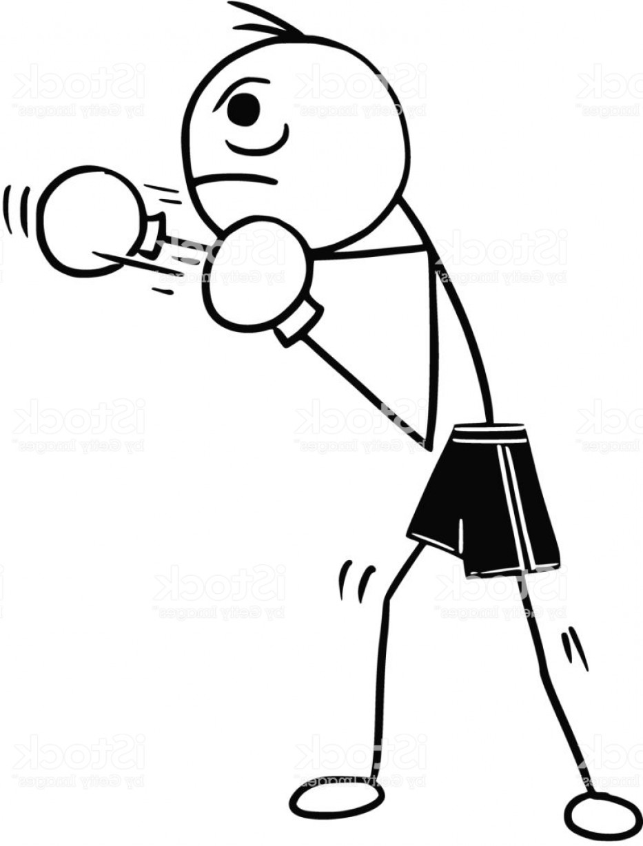 Pictures Of Boxing Gloves Vector Art: Vector Stickman Cartoon Of Boxer With Boxing Gloves Gm