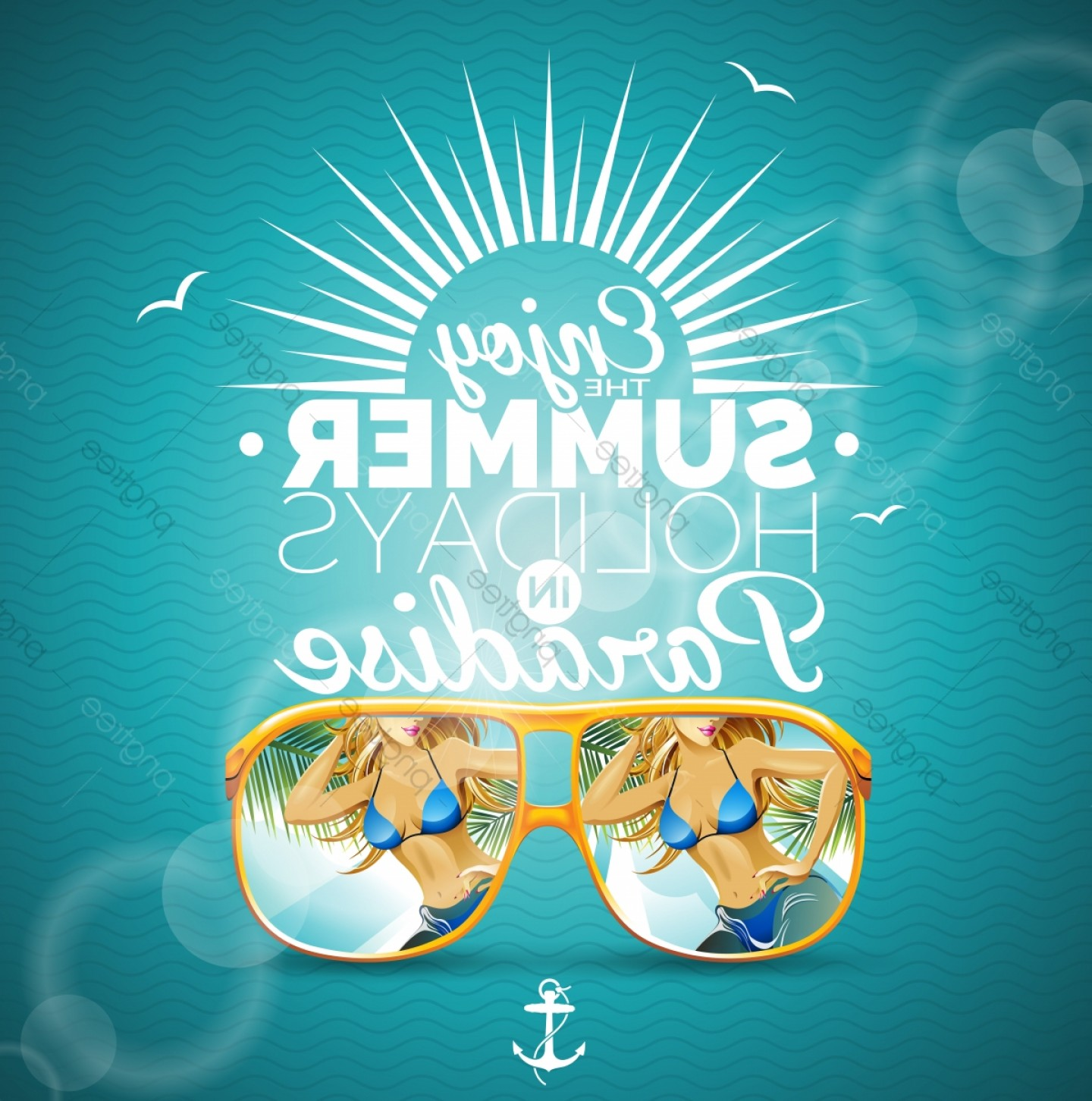 Vector Sexy Sunglasses: Vector Summer Illustration With Sexy Girl And Sunglasses On Blue Background