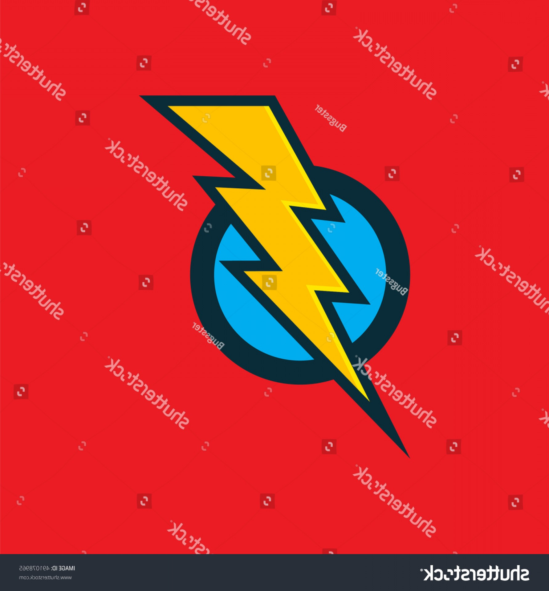 Flash Superhero Logo Vector: Vector Superhero Sign Flash Icon Color