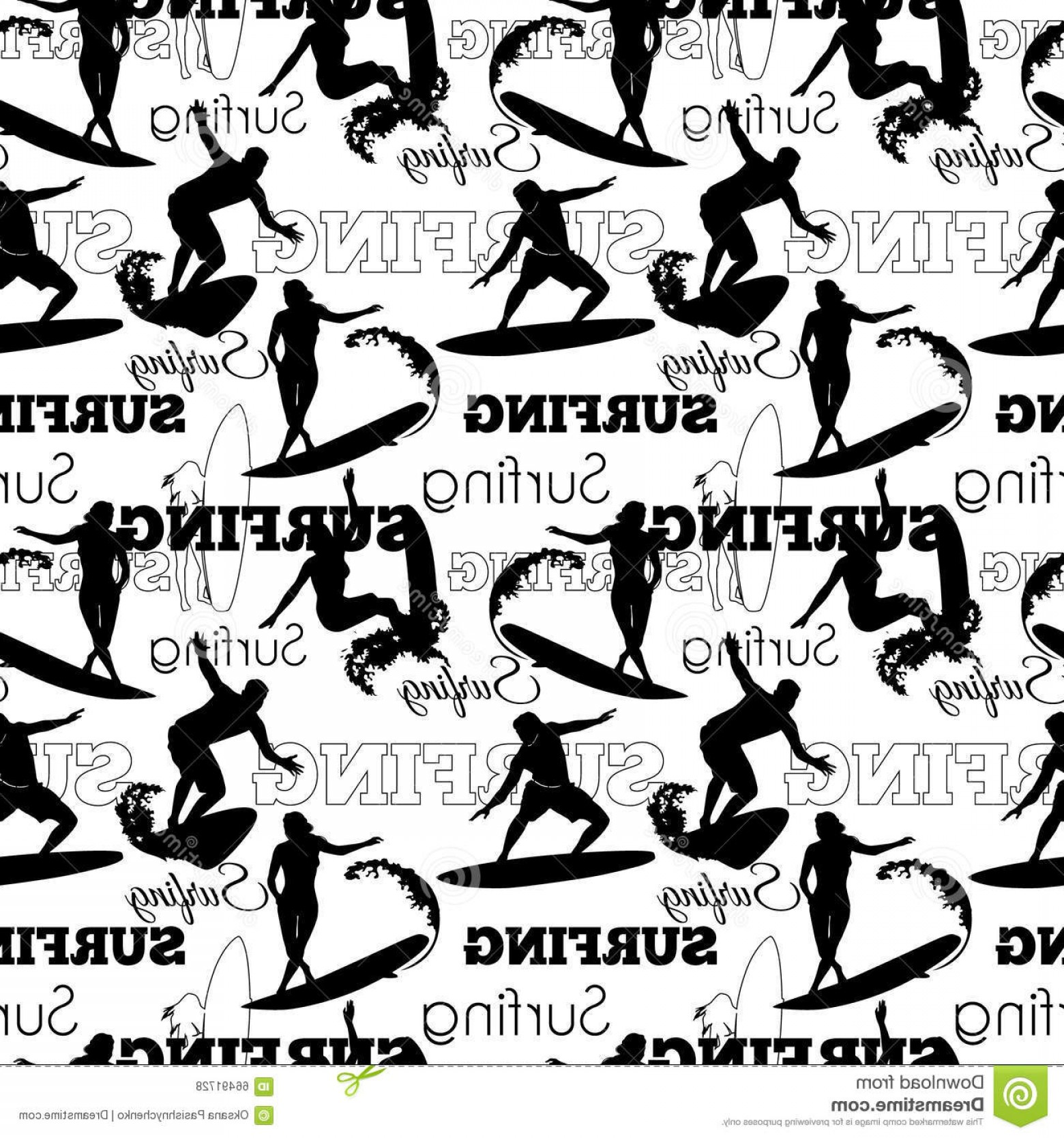 California Black And White Vector: Vector Surfing People California Black And White Seamless Pattern Surface Design With Men Women On Surf Boards Illustration