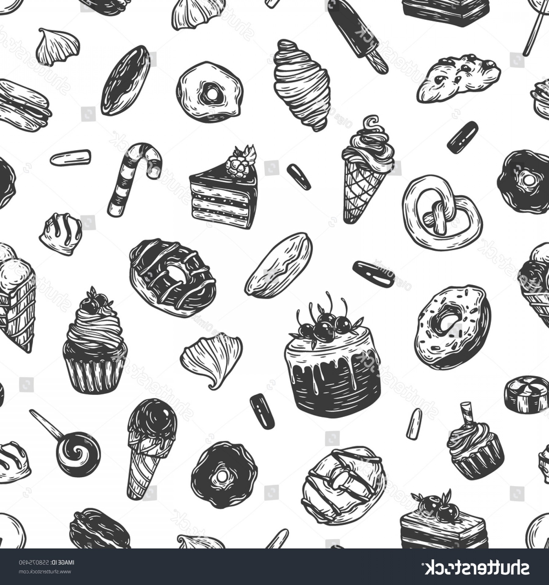 Black And White Candy Vector: Vector Sweets Seamless Pattern Different Kinds