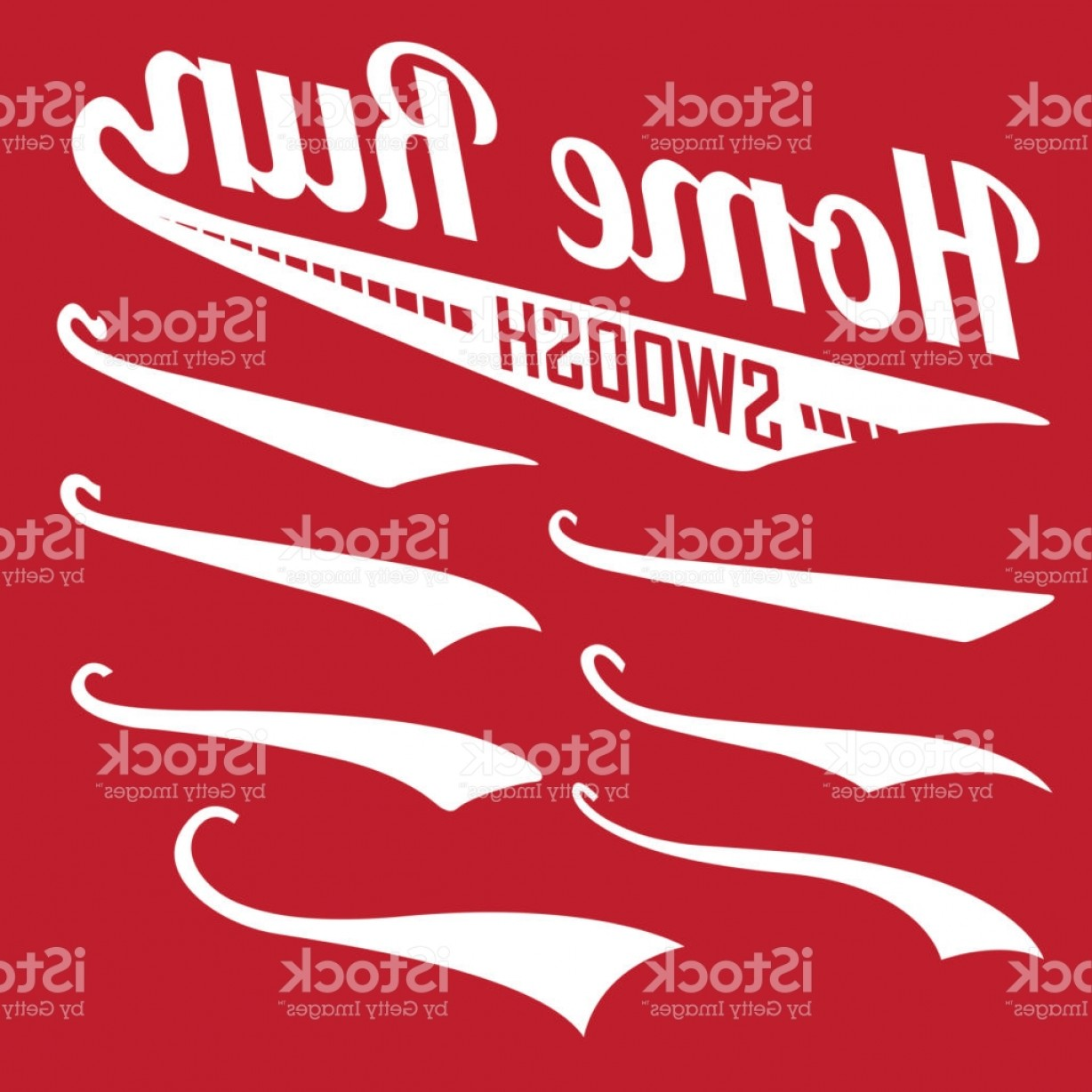 Baseball Tails Vector Clip Arts: Vector Swooshes Swishes Whooshes And Swashes For Typography On Retro Or Vintage Gm