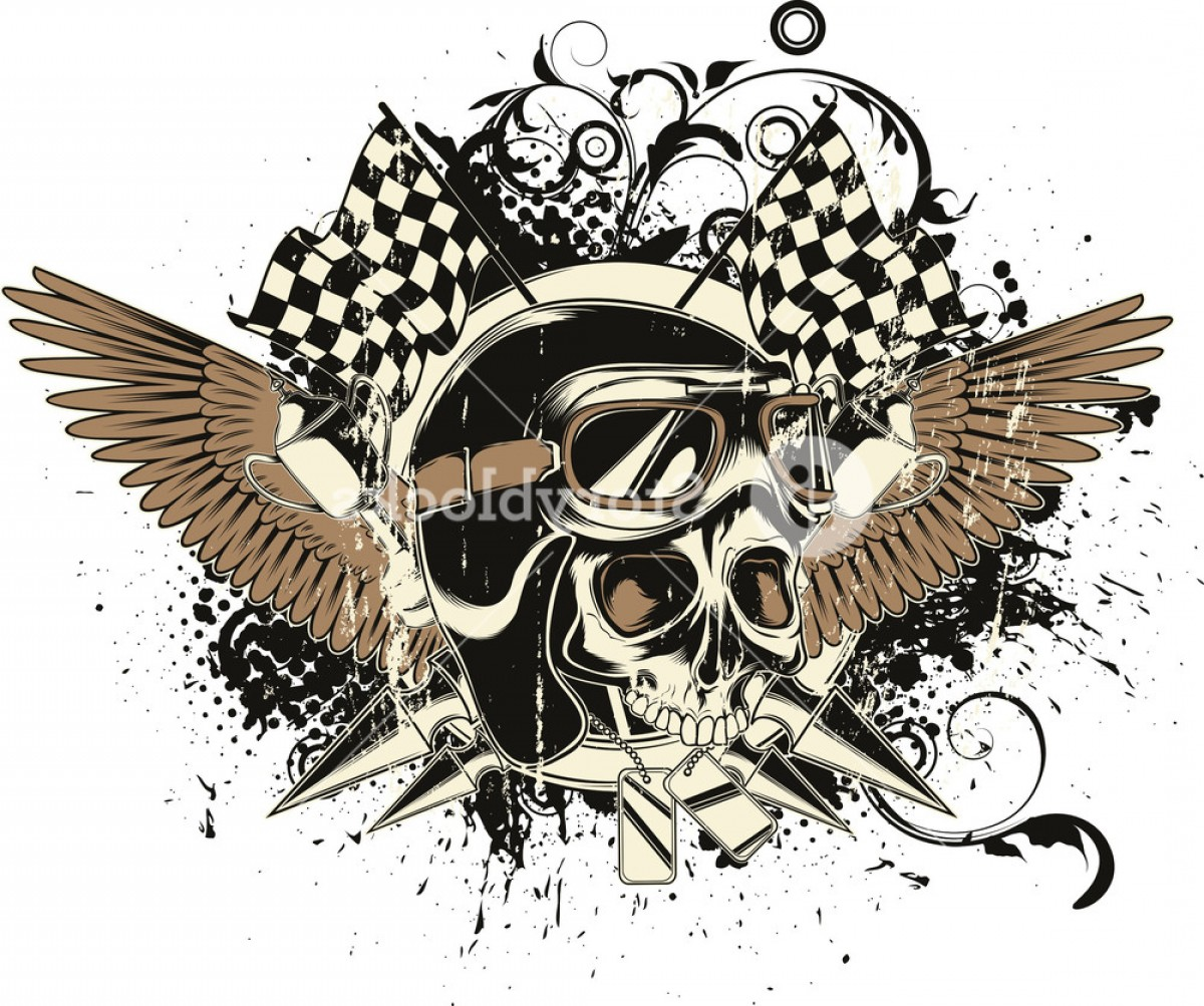Skull Vector T-shirt Illustration: Vector T Shirt Design With Race Driver Skull Swcwirubjgoju