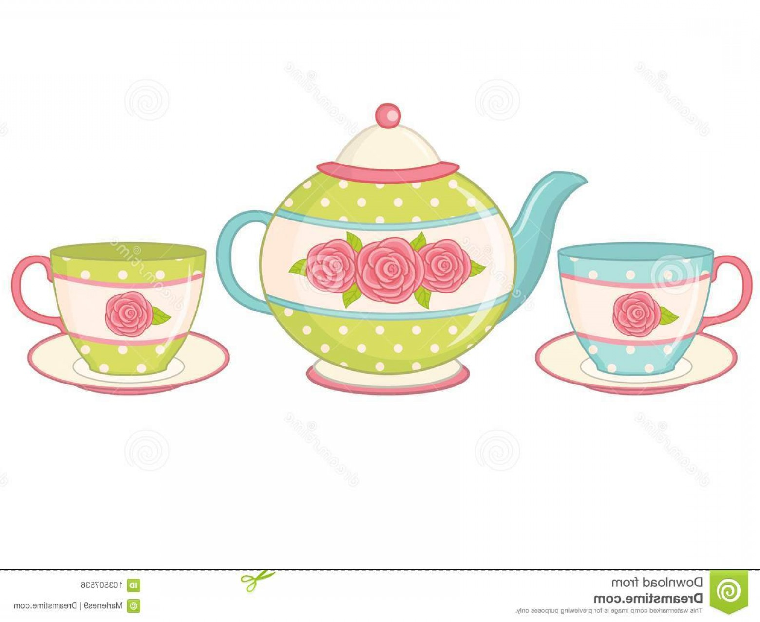 Tea Set Vector: Vector Teapot Teacups Saucers Decorated Polka Dot Pattern Roses Tea Pot Tea Cups Vector Illustration Vector Image